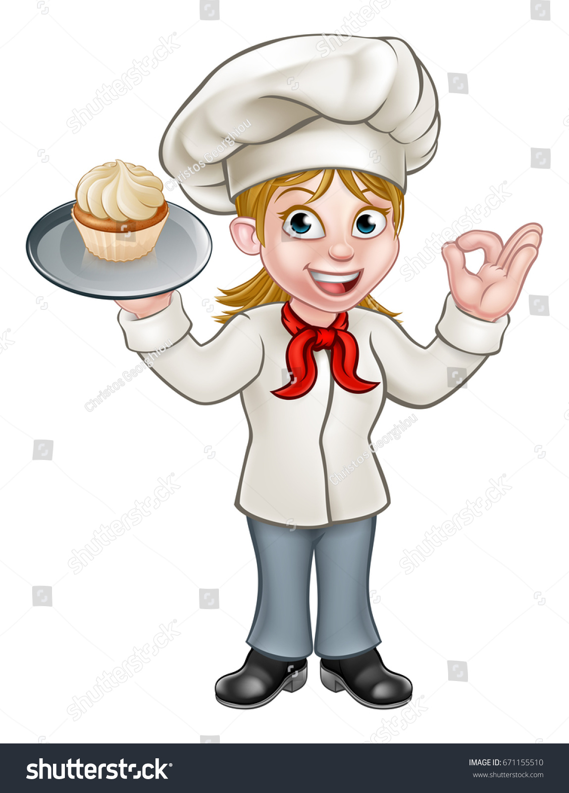 a cartoon woman pastry chef or baker character holding a plate with