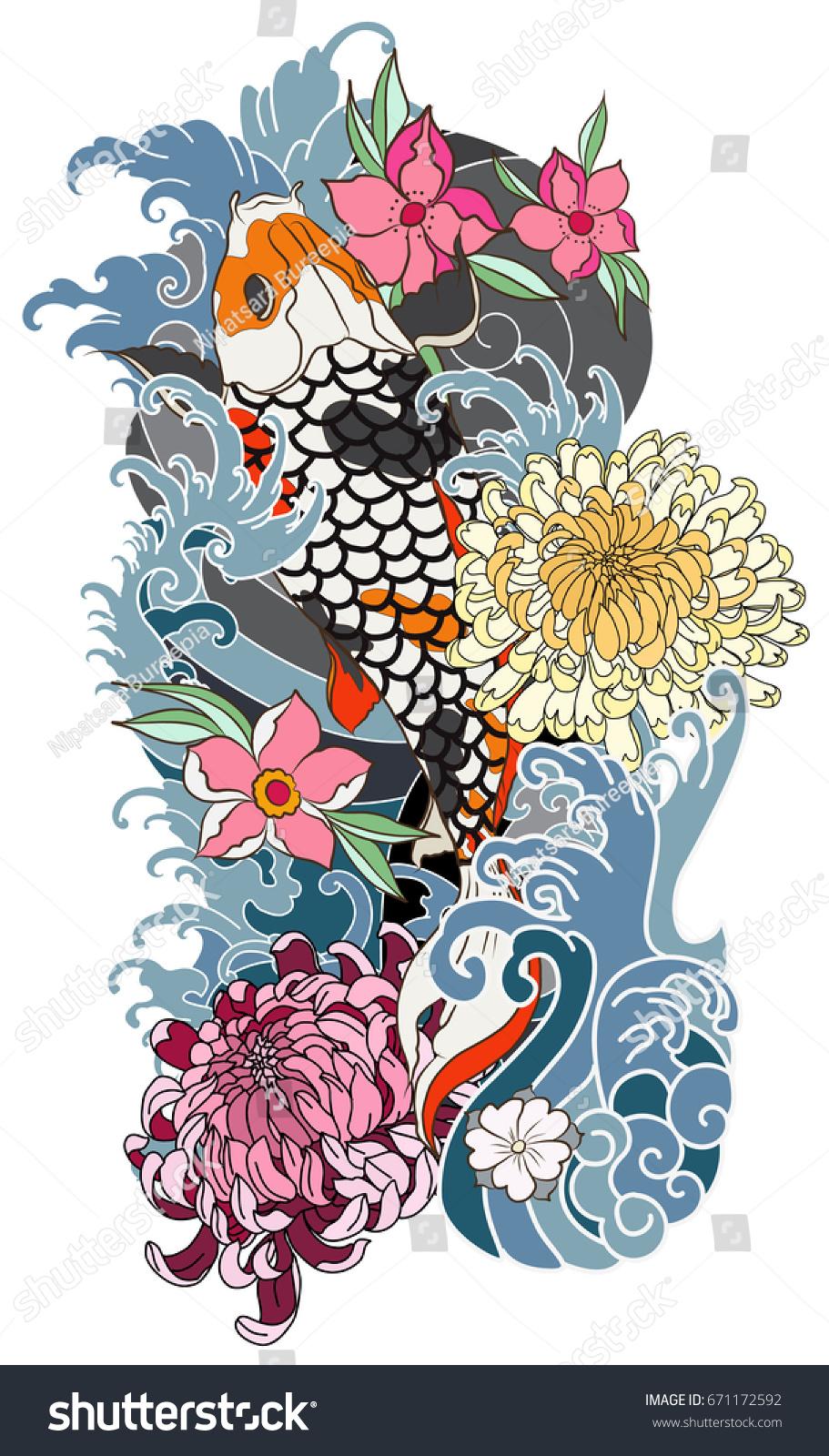 Colorful koi carp with water splashlotus