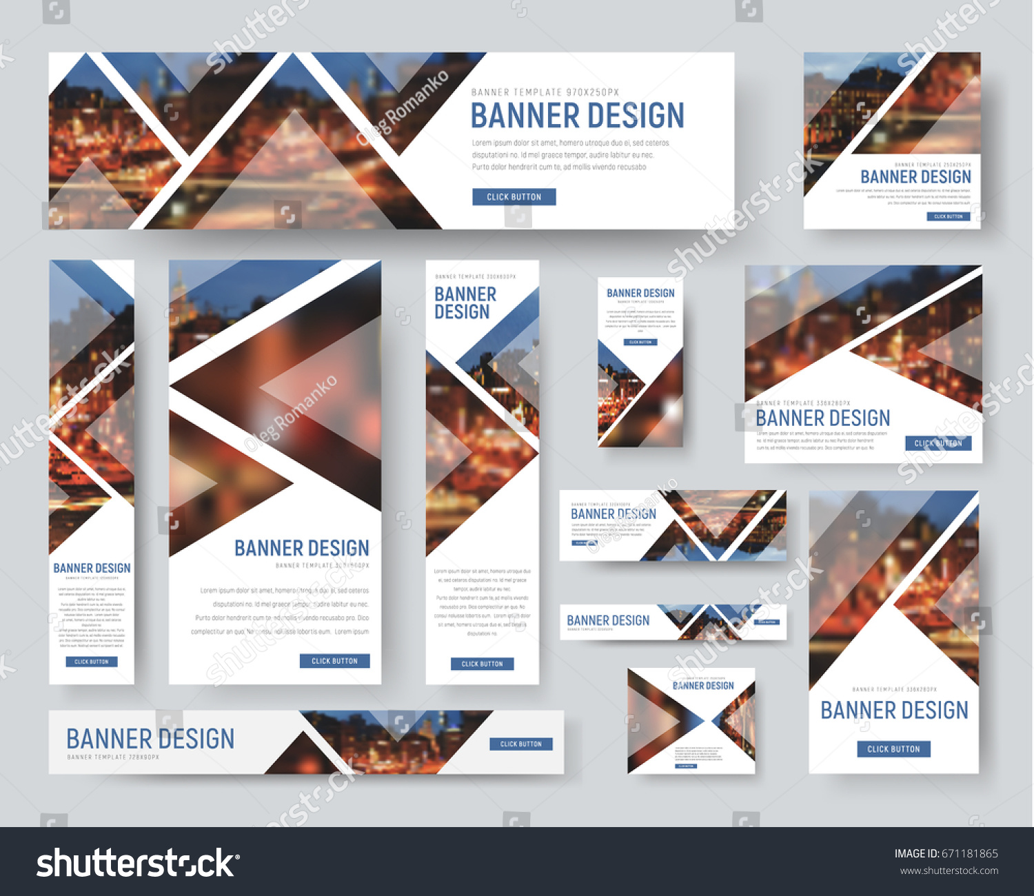 Template of white banners of standard size for the web. Design with triangular elements for a photo. Blurred image for example. Vector illustration. Set #671181865