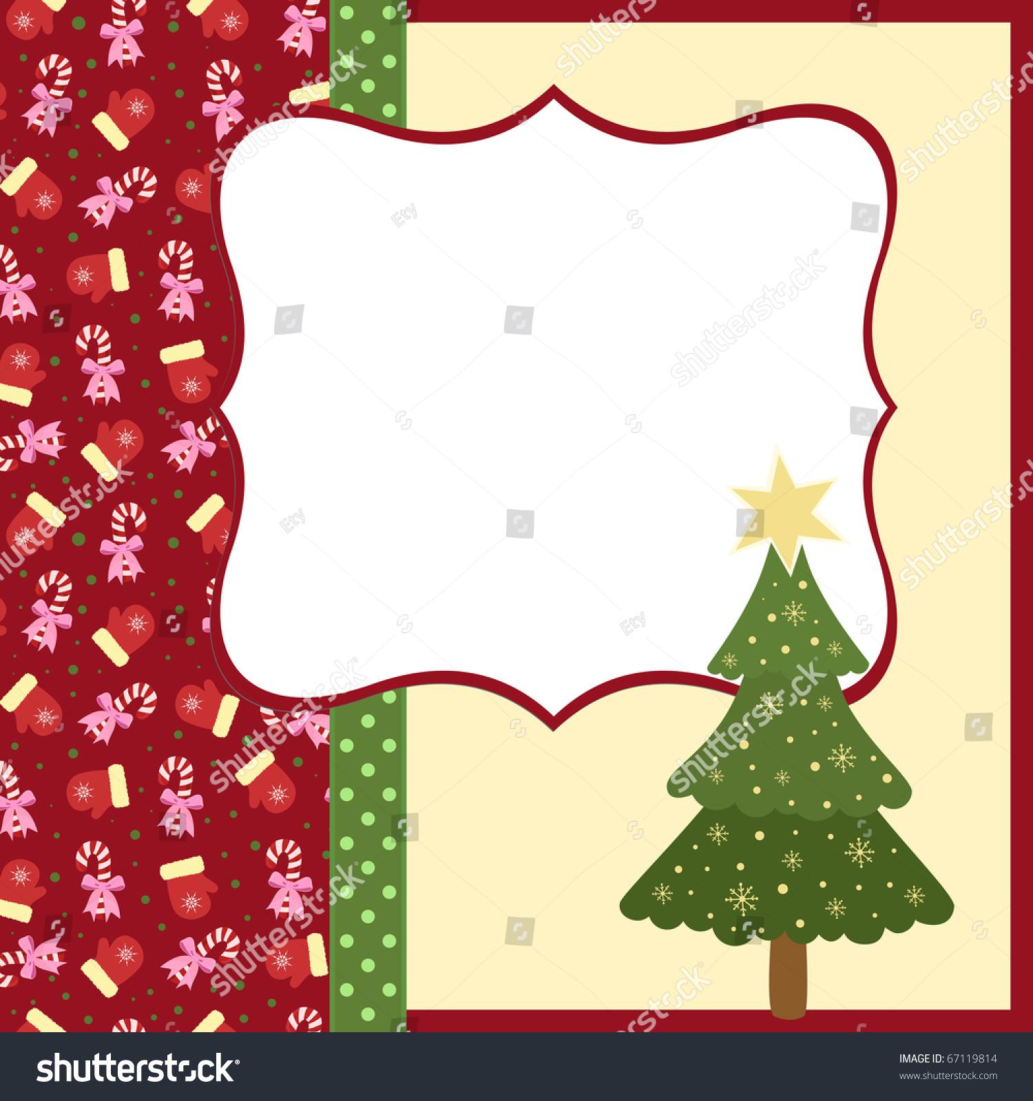 Blank Template Christmas Greetings Card Postcard Stock Illustration ...
