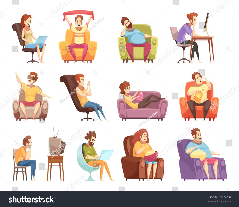 Sedentary Lifestyle: Sedentary Lifestyle Set Retro Cartoon Icons Stock Vector