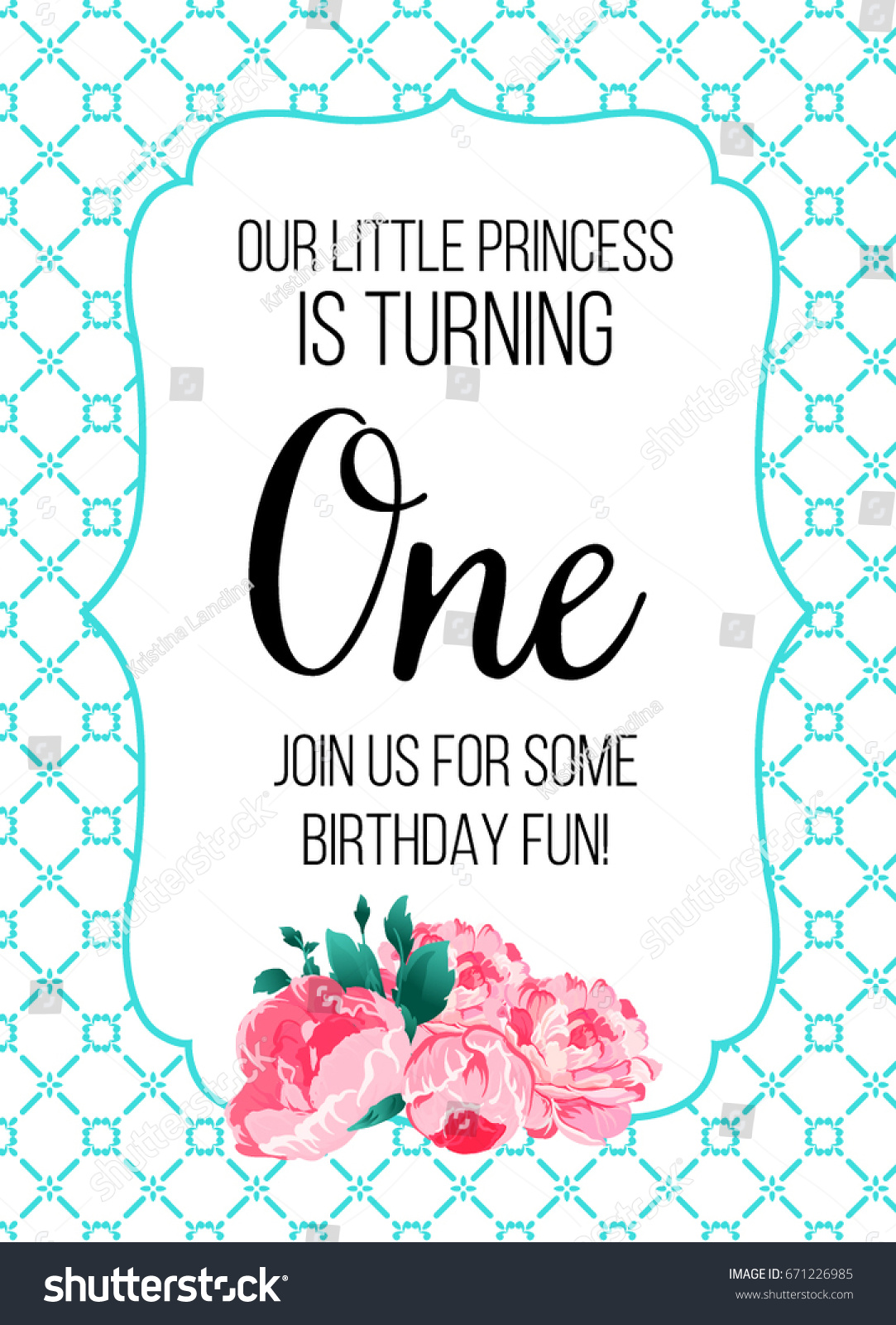 First Birthday Invitation Girl Party One Year Old Tiffany Blue Color