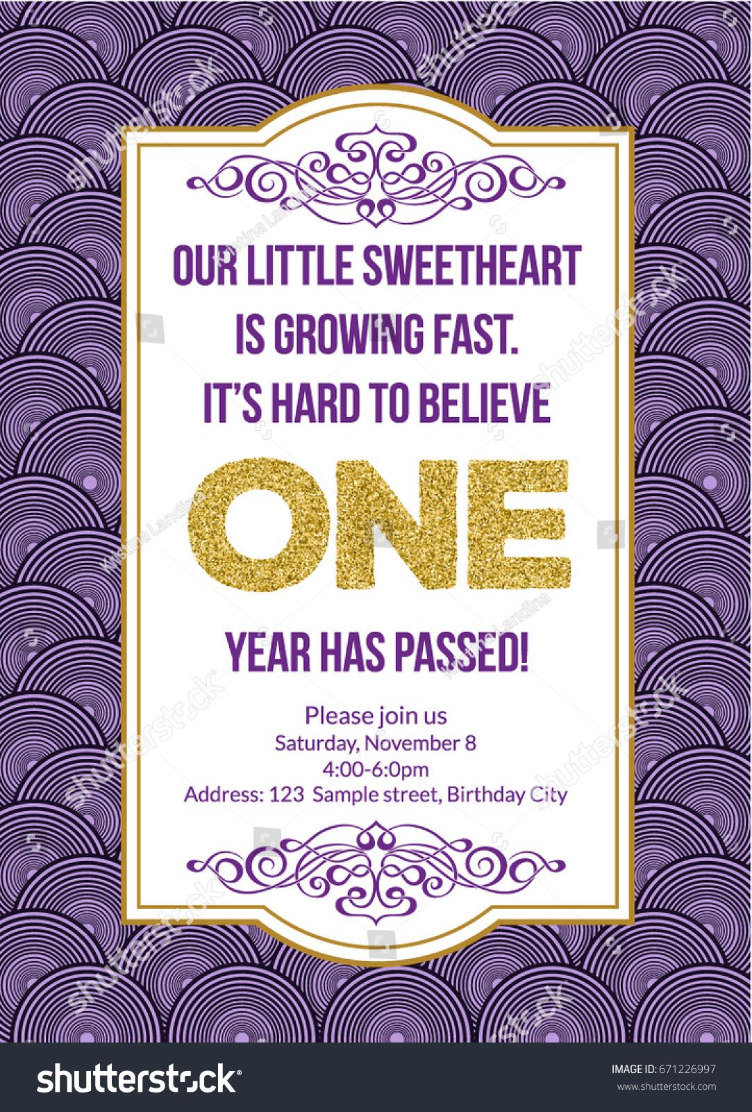 First Birthday Invitation Girl First Birthday Stock Vector (Royalty ...