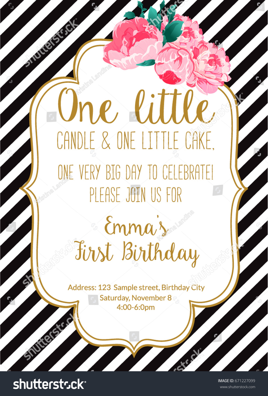 First Birthday Party Invitation Girl Text Stock Vector 671227099 ...