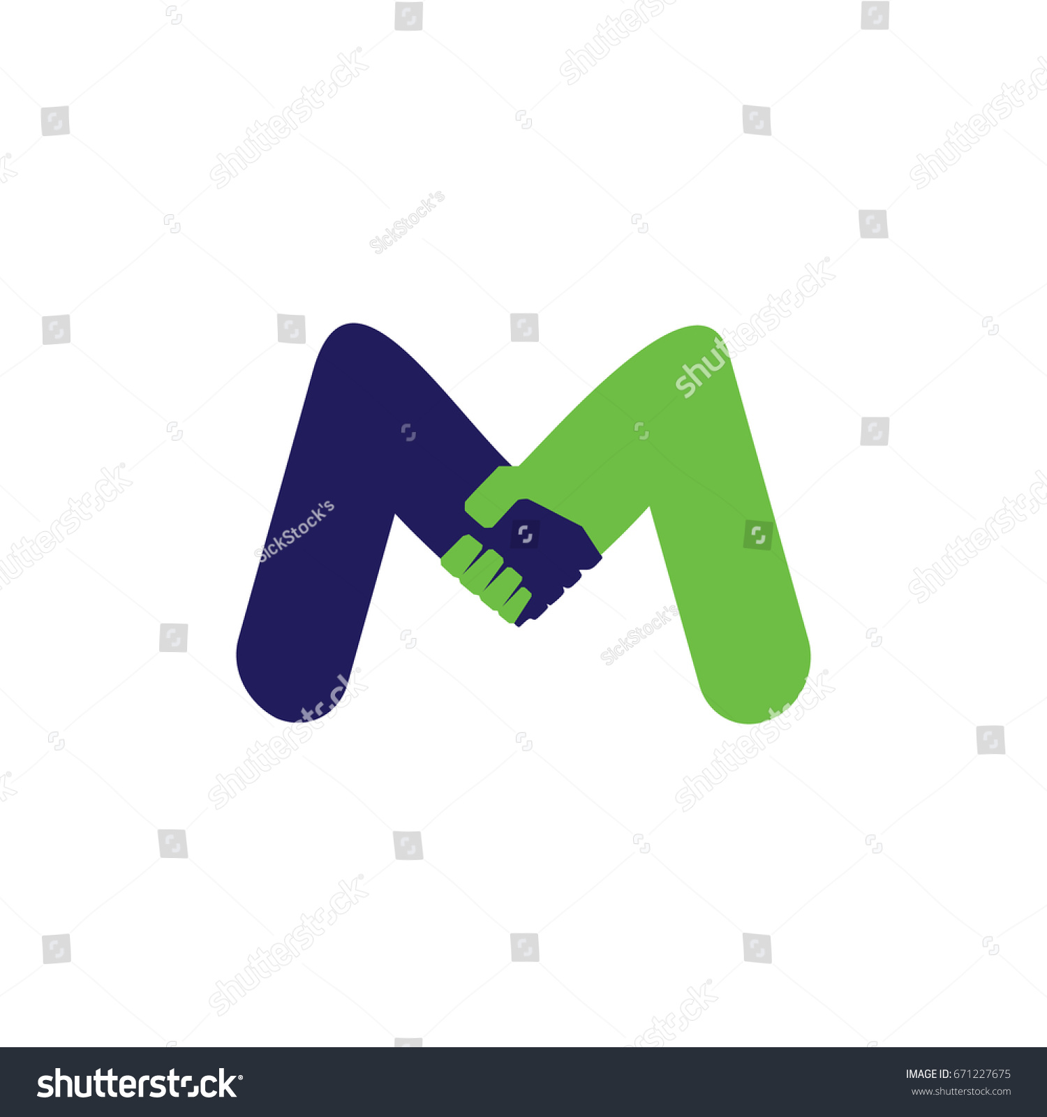Letter M Hand Shake Symbol Vector Stock Vector Royalty Free