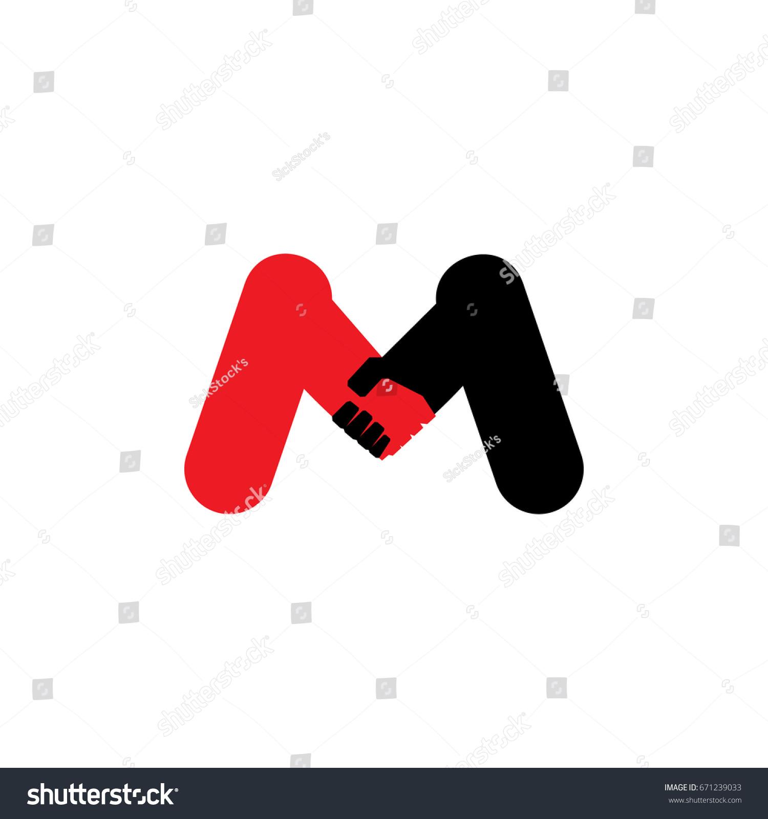 Letter M Hand Shake Symbol Design Stock Vector Royalty Free