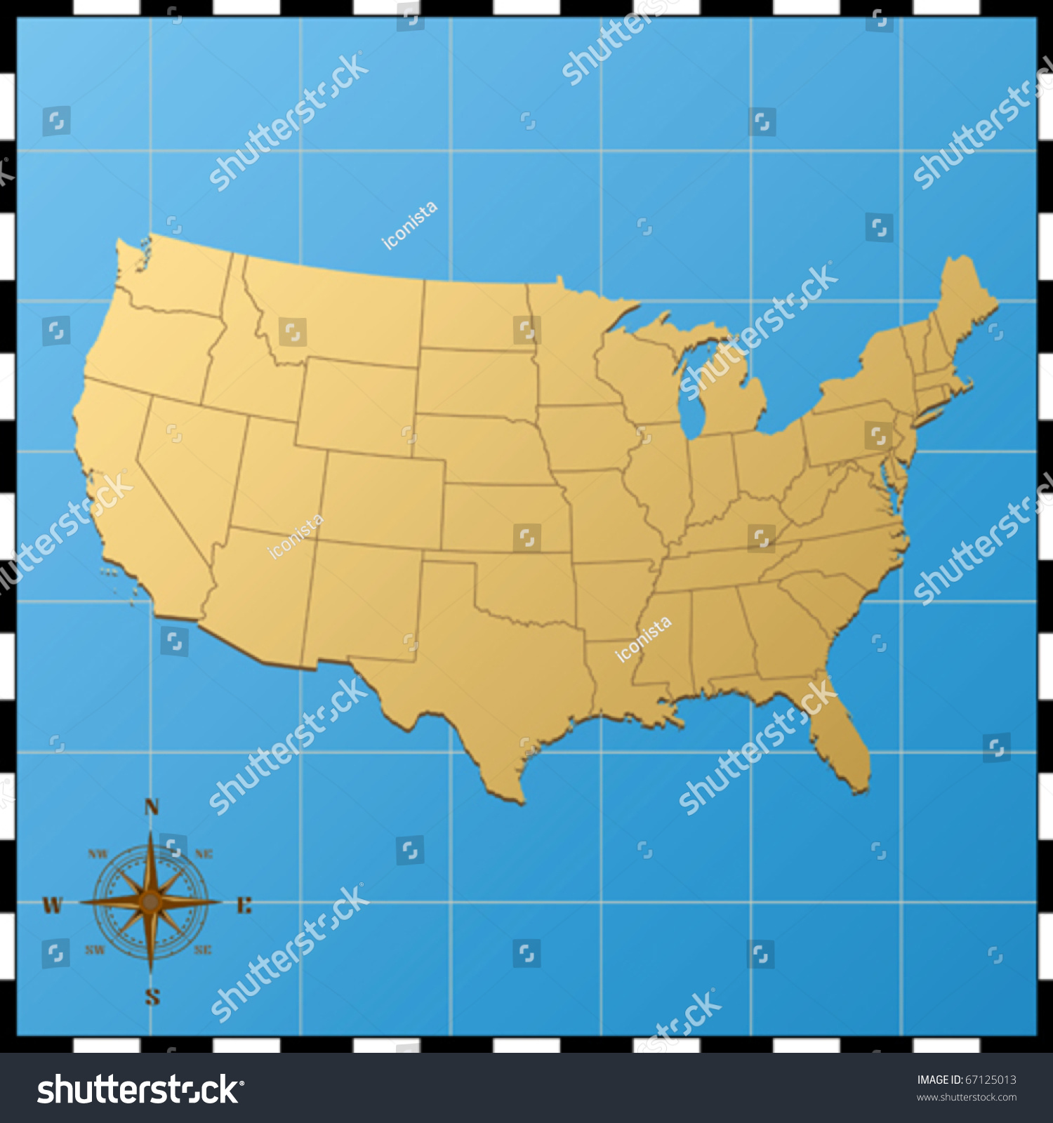 Usa Map Compass Rose Stock Vector Shutterstock - Usa map with compass