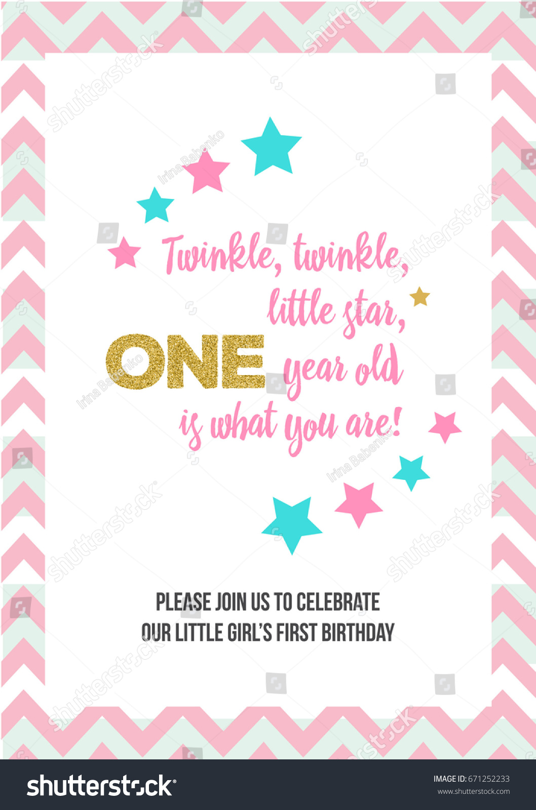 Twinkle Twinkle Little Star Girls First Stock Vector (Royalty Free ...