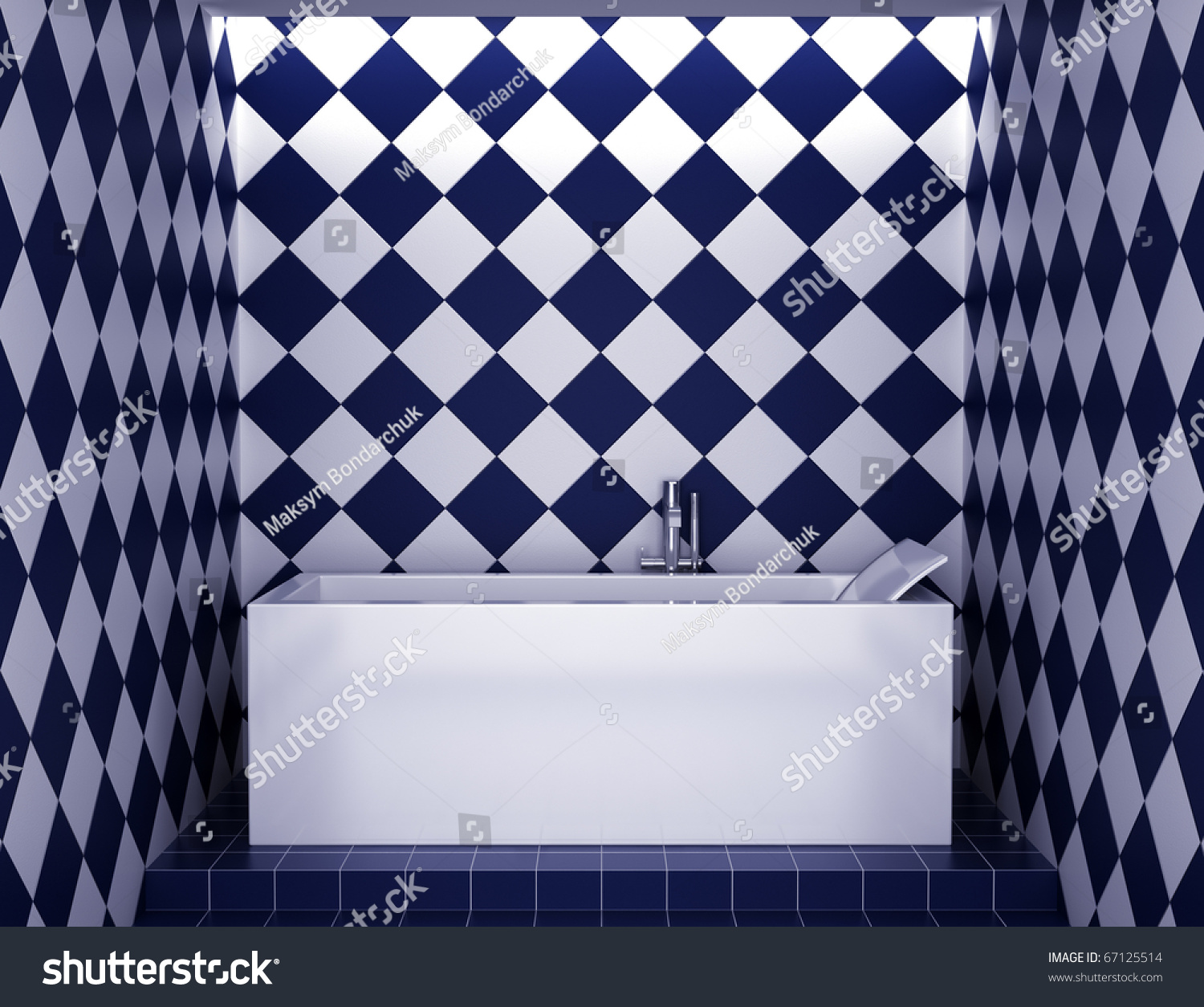 Modern blue and white bathroom - Modern Bathroom With Blue And White Tiles On Wall Preview Save To A Lightbox