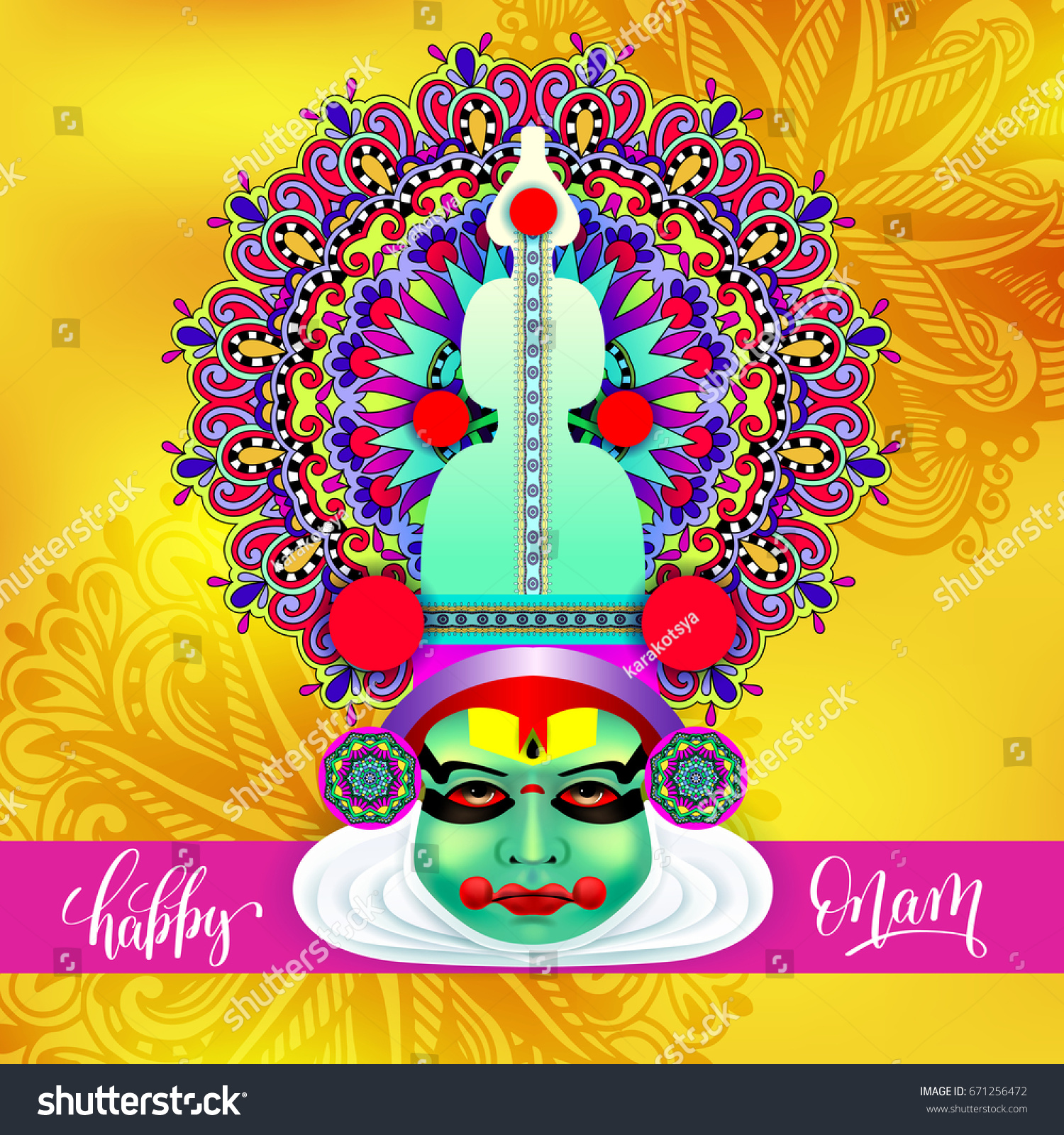 Indian Kathakali Dancer Face Decorative Modern Stock Vector Royalty