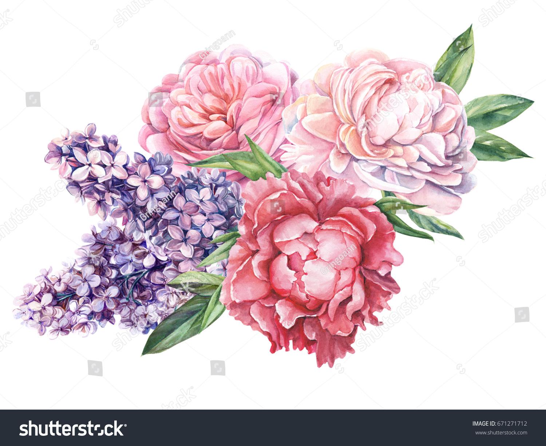 Royalty free stock illustration of wedding bouquet flowers peonies wedding bouquet flowers peonies roses and lilacs watercolor izmirmasajfo