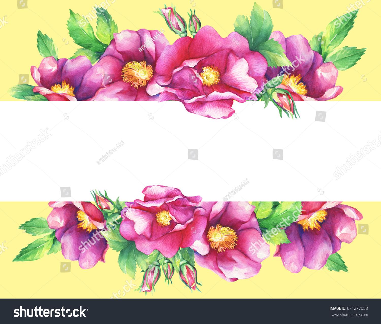 Banner Flowering Pink Roses Names Dog Stock Illustration 671277058