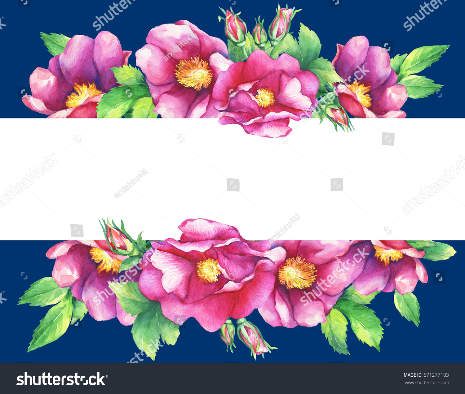 Banner Flowering Pink Roses Names Dog Stock Illustration 671277103
