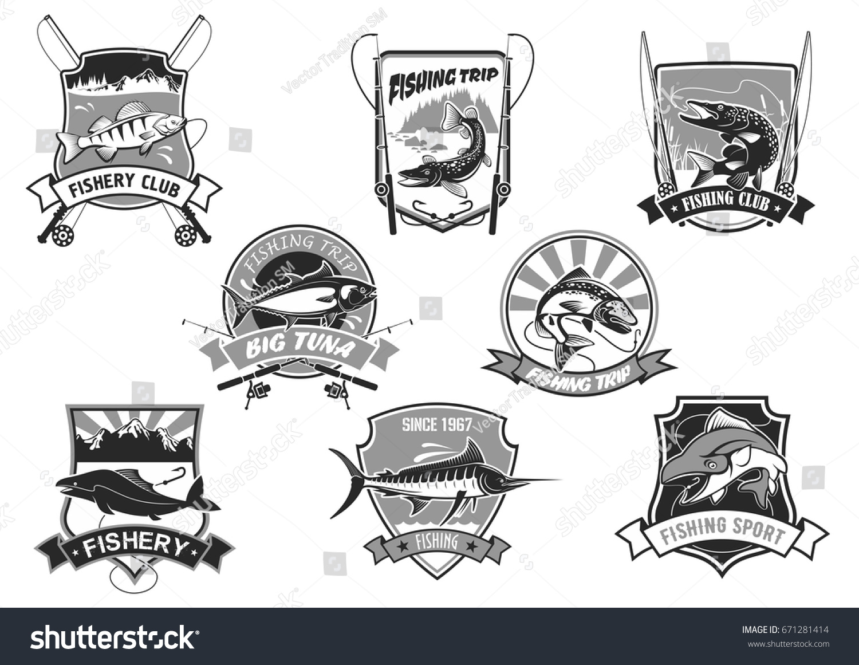 Fishing Club Fishery Trip Icons Set Stock Vector 671281414