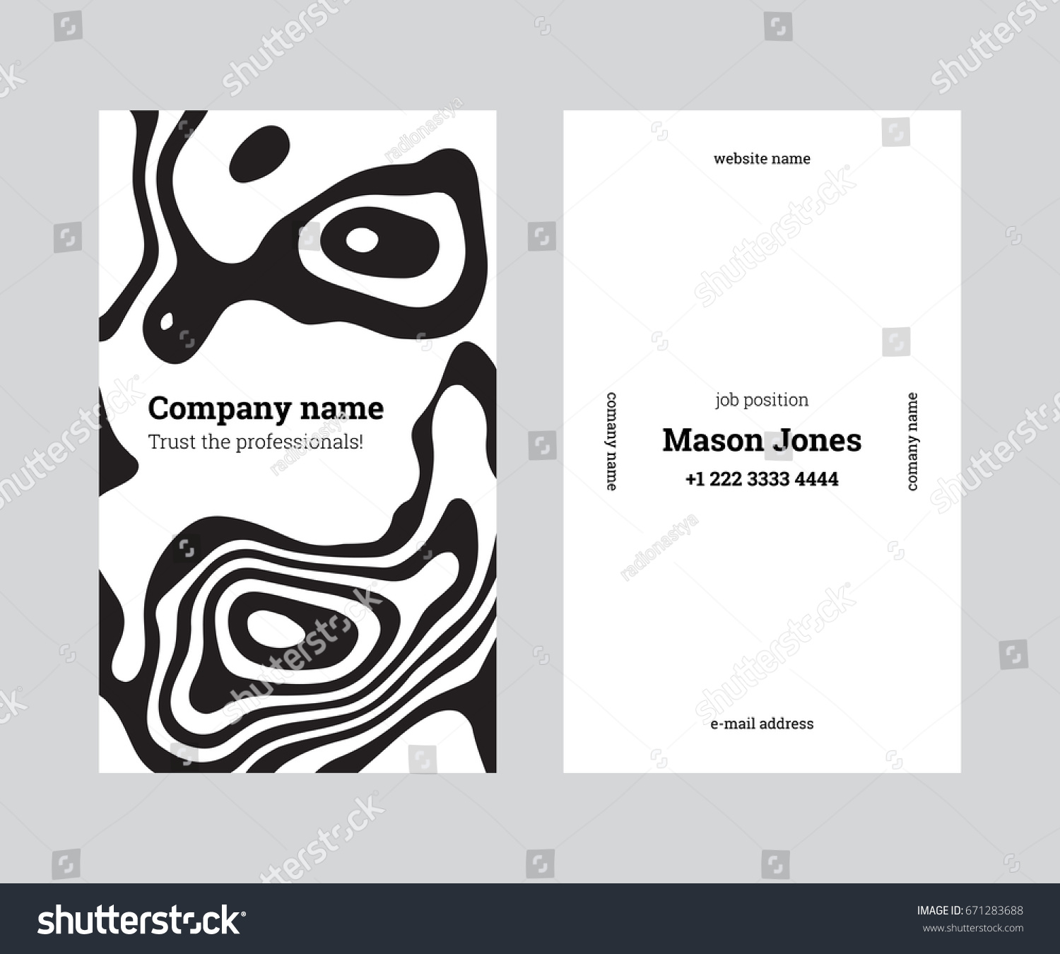 White Black Doublesided Business Card Template Stock Vector ...