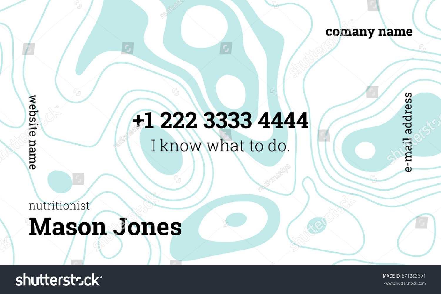 White blue business card template nutritionist stock vector white and blue business card template for nutritionist us standard size 35x2 in magicingreecefo Choice Image