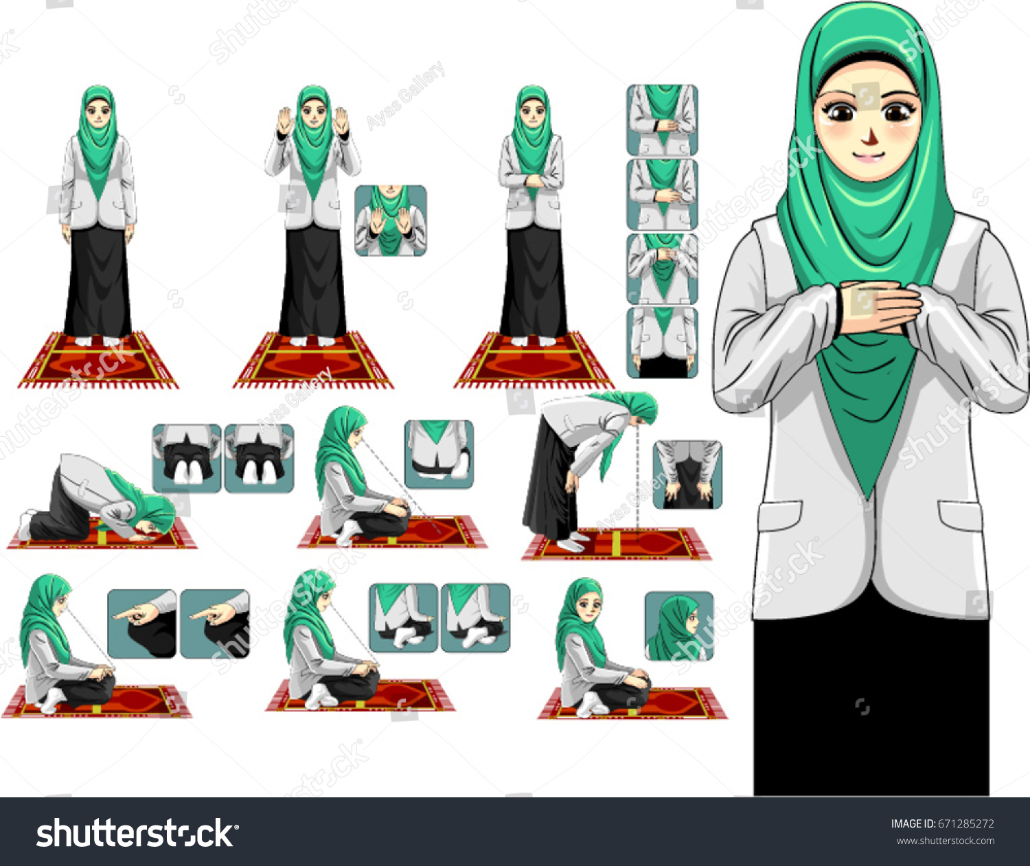 complete muslim prayer guide step by stock vector royalty free