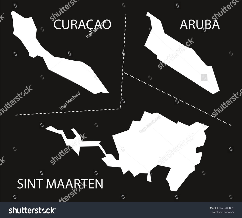 Curacao Aruba Sint Maarten Netherlands Map Stock Vector 671286061