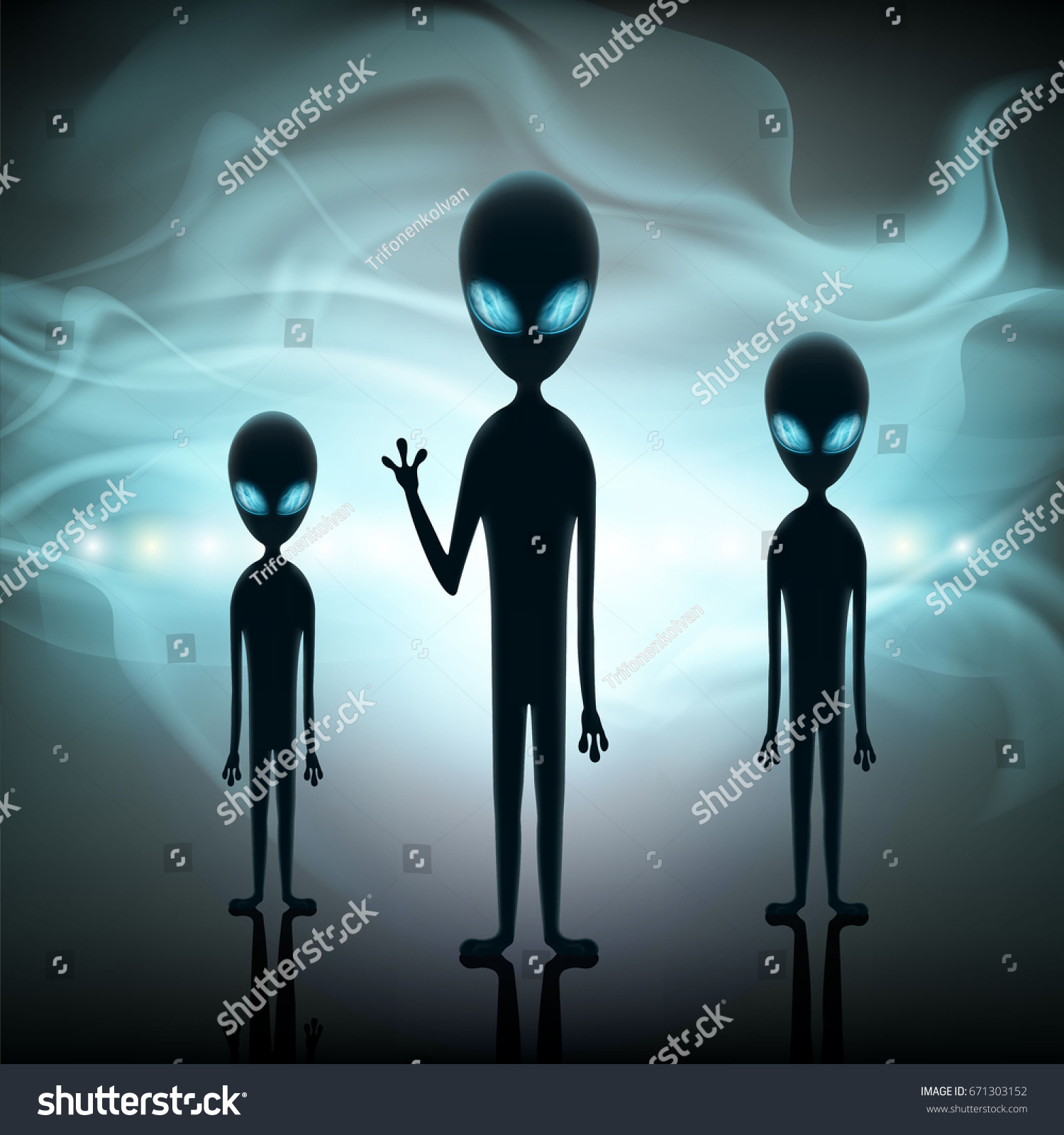 aliens stand background spaceship contact extraterrestrial stock
