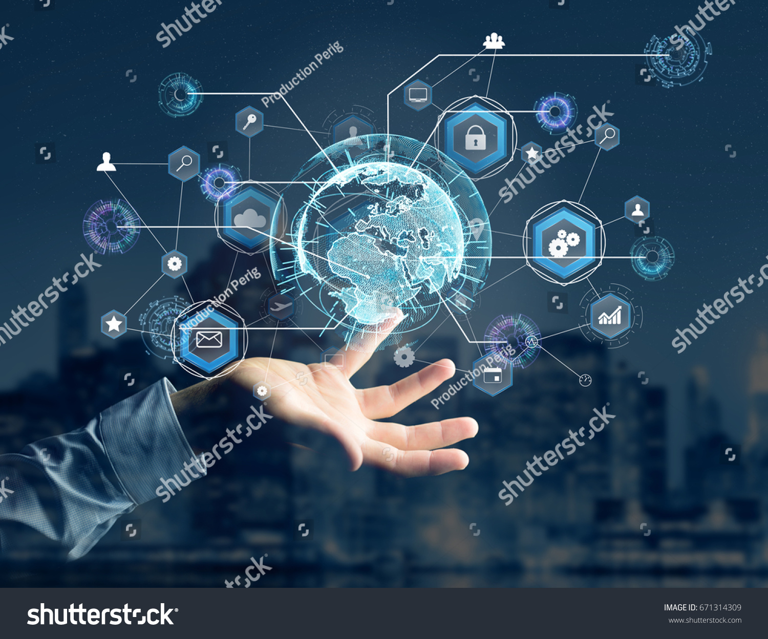 View of an International business network connection displayed on a ...