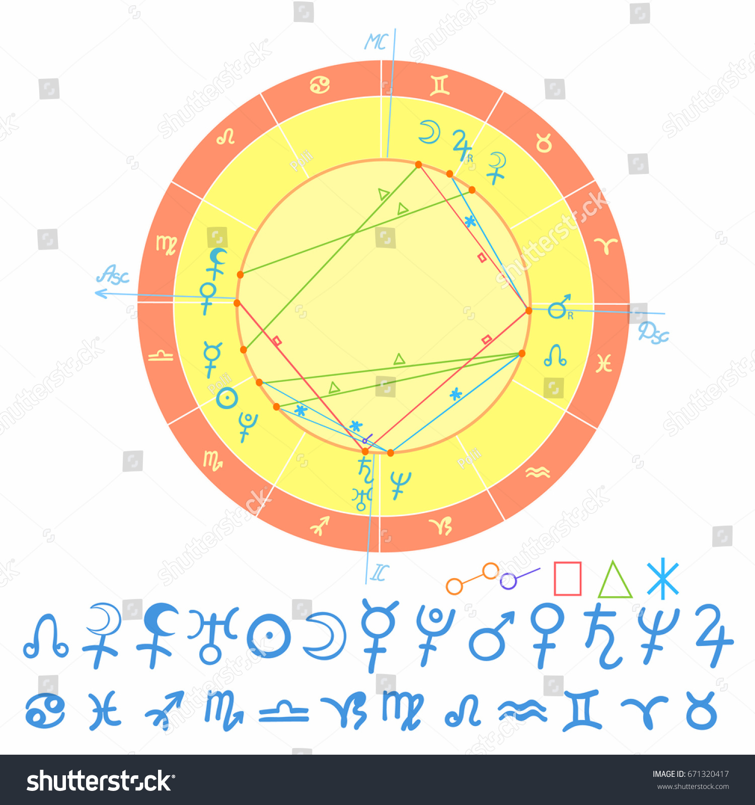 Natal astrological chart zodiac sign vector stock vector 671320417 natal astrological chart zodiac sign vector illustration nvjuhfo Image collections
