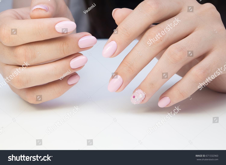Beautiful Manicure Nail Art Natural Nails Stock Photo (Safe to Use ...