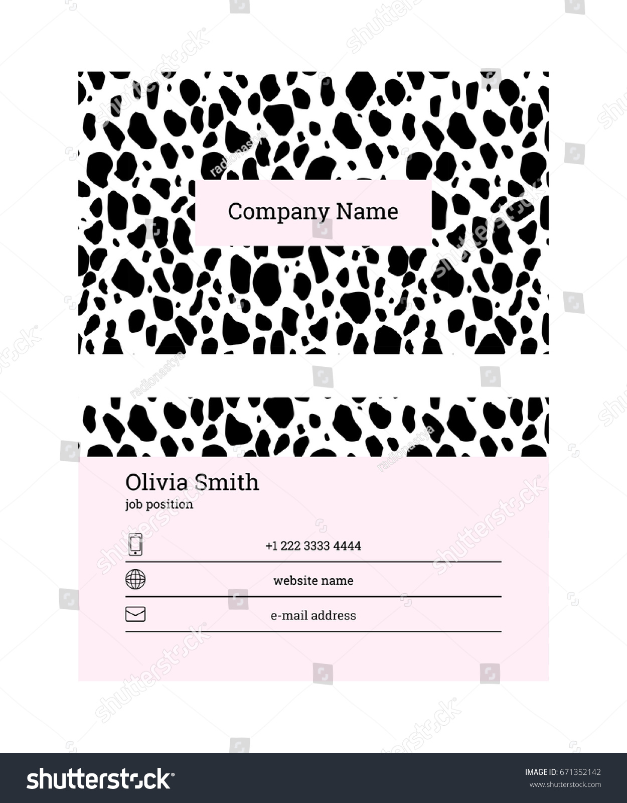 Doublesided Business Card Template Information On Stock Vector ...