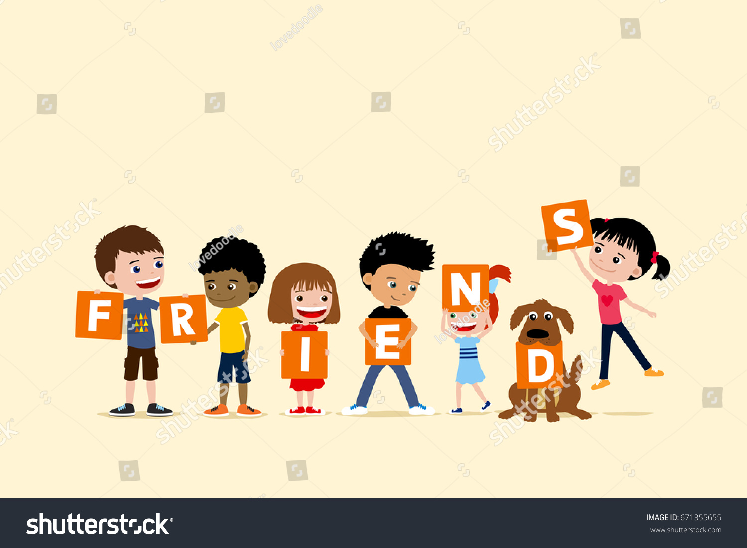 group children dog holding letters saying stock illustration