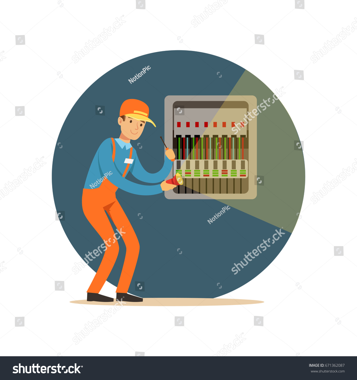 Electrician engineer repairing equipment in fuse box with flashlight,  electric man performing electrical works vector