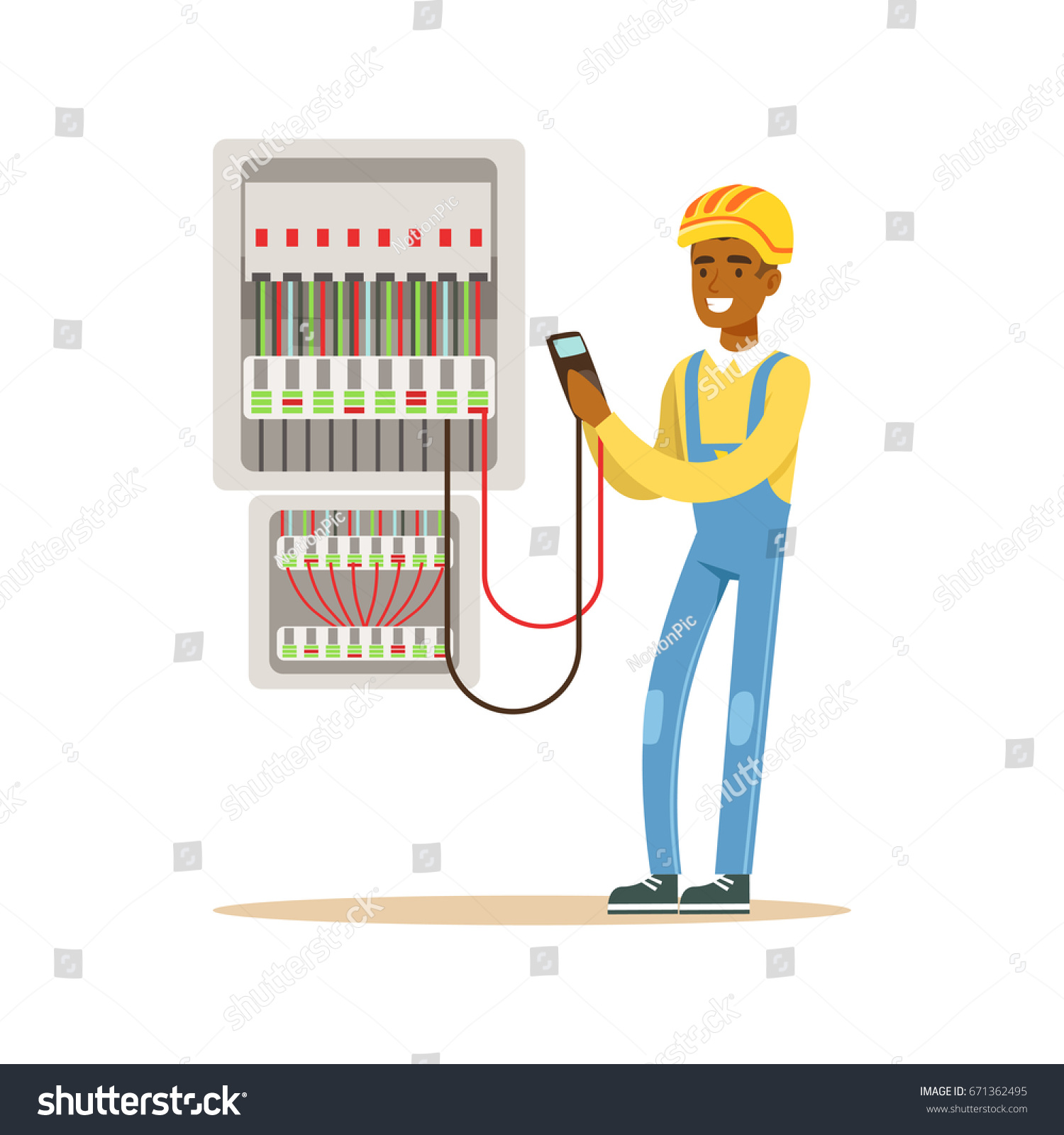 stock vector electrician engineer measuring the voltage output in fuse box electric man performing electrical 671362495 electrician engineer measuring voltage output fuse stock vector how a fuse box works at crackthecode.co