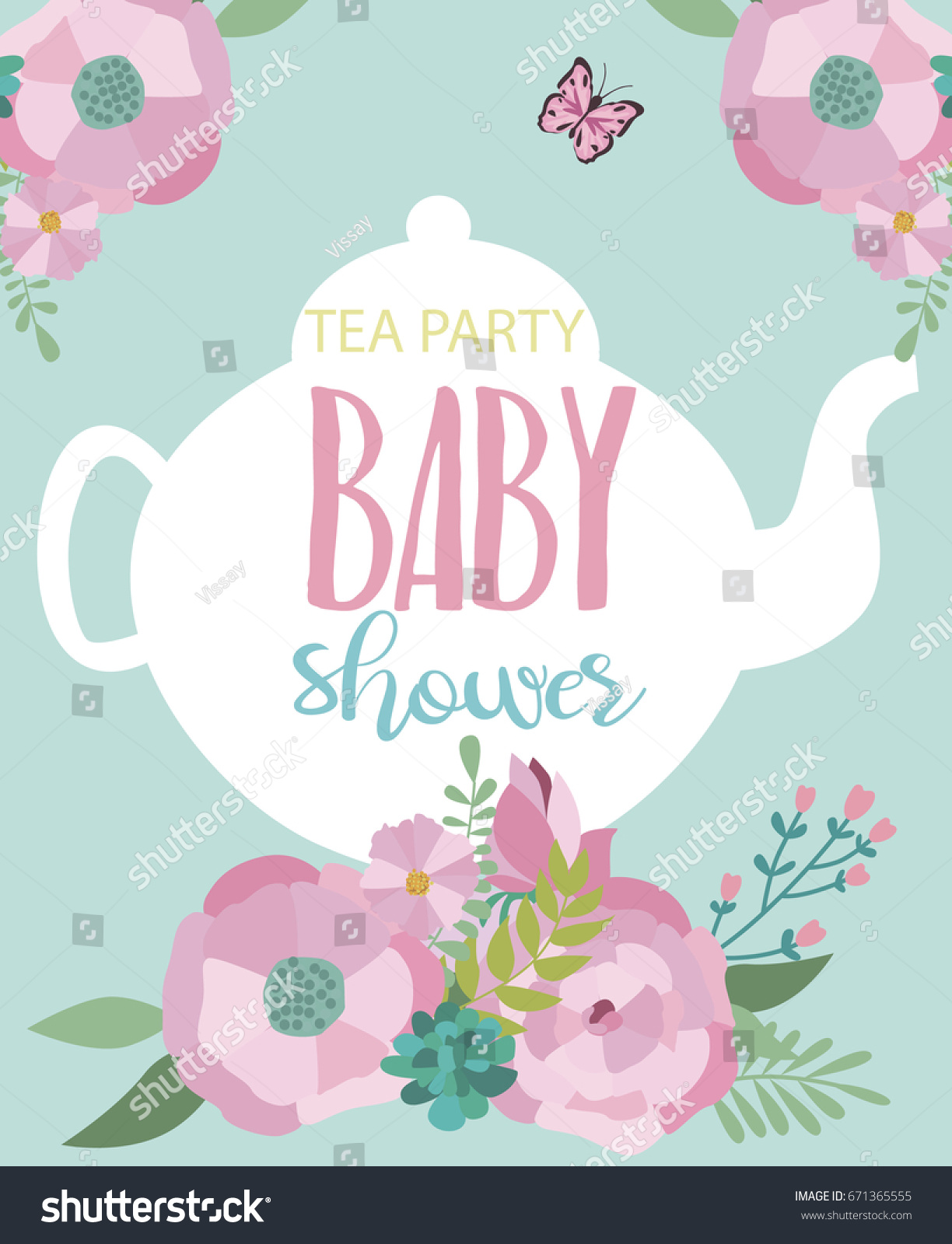 Invitation Card Baby Shower Tea Party Stock Vector 671365555 ...