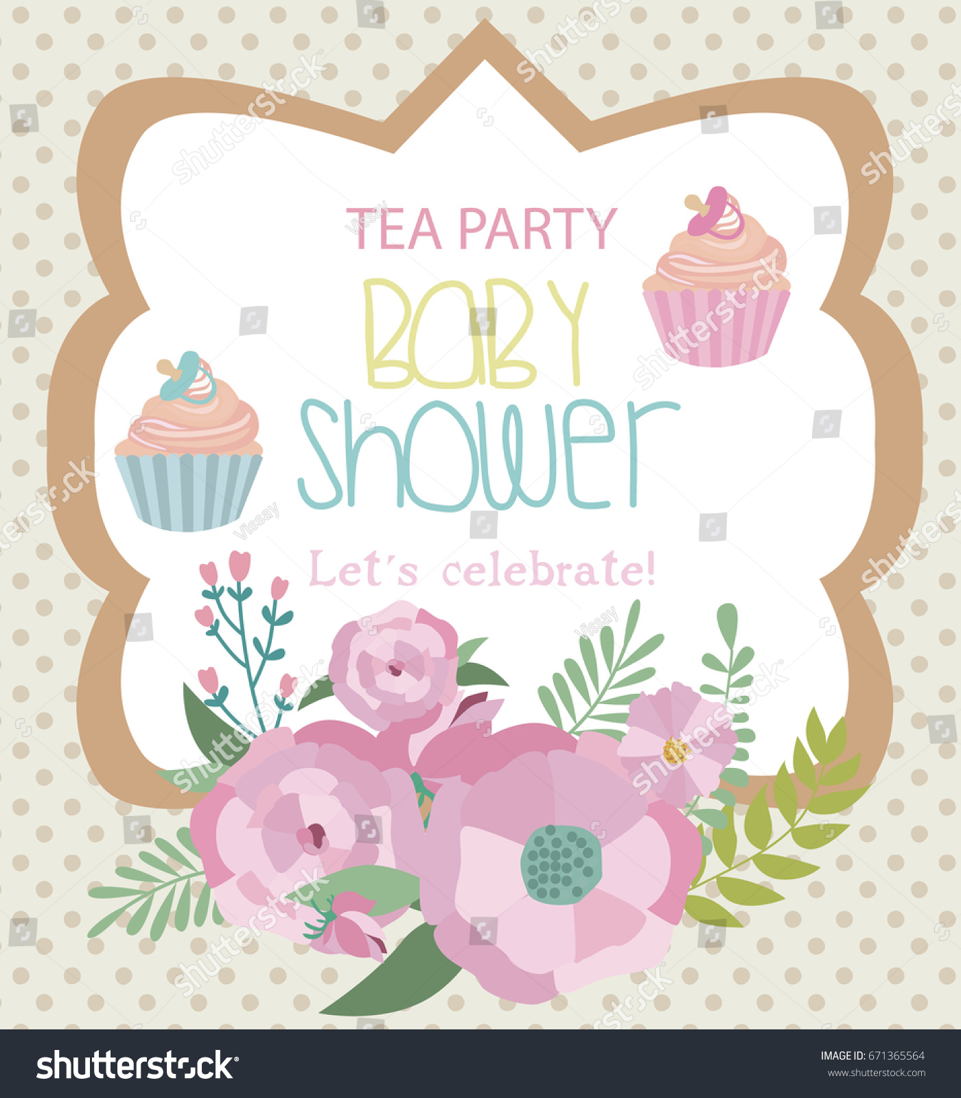 Invitation Card Baby Shower Tea Party Stock Vector 671365564 ...