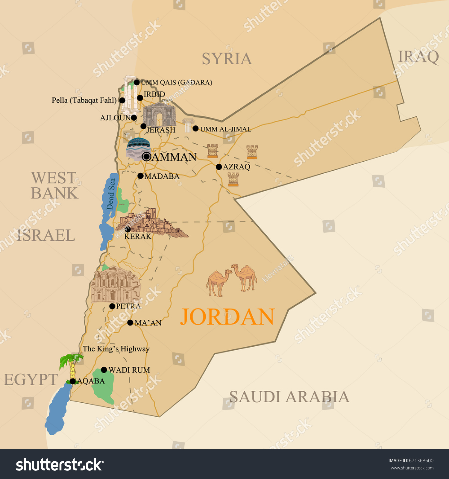 Jordanian tourist map designation historical cultural stock vector jordanian tourist map with a designation of historical cultural reminders publicscrutiny Image collections