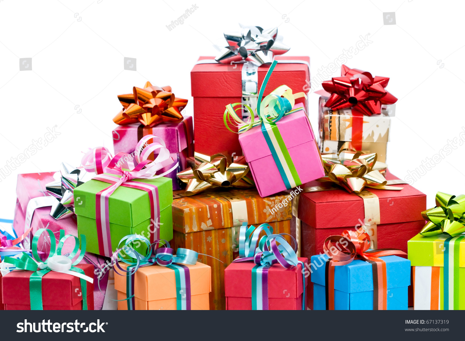 Pile of colorful christmas presents isolated