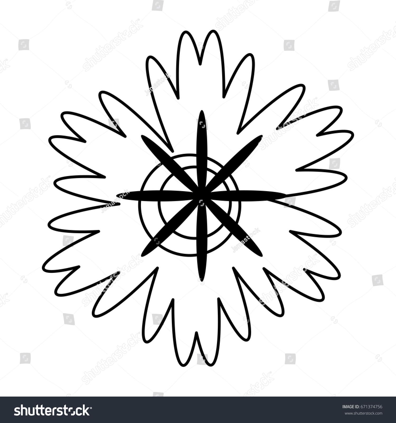 Cartoon Flower Black White Line Icon Stock Vector Royalty Free