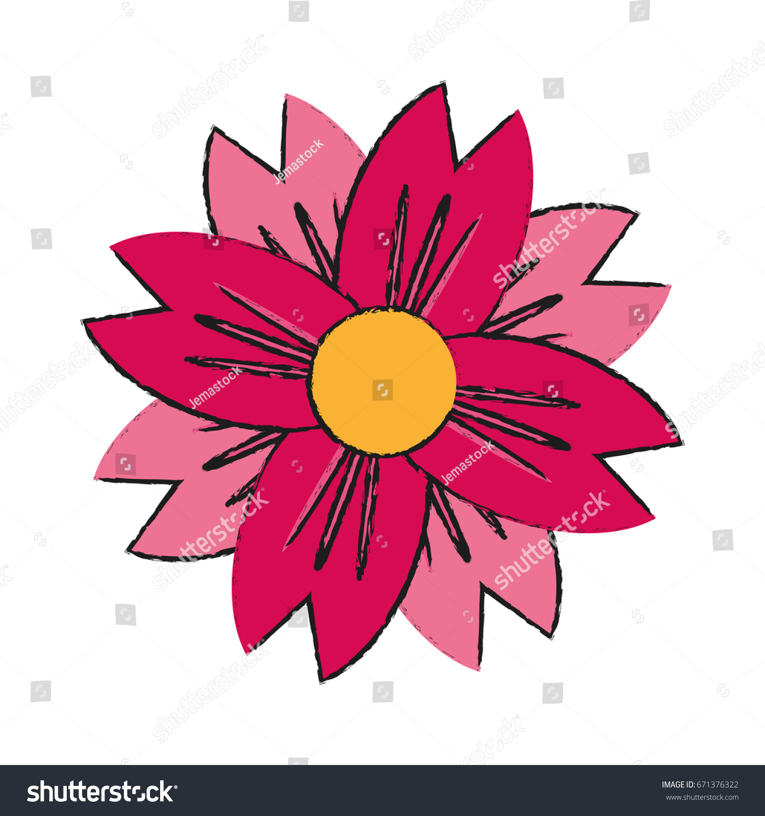 Single Pink Flower Icon Image Stock Vector Royalty Free 671376322