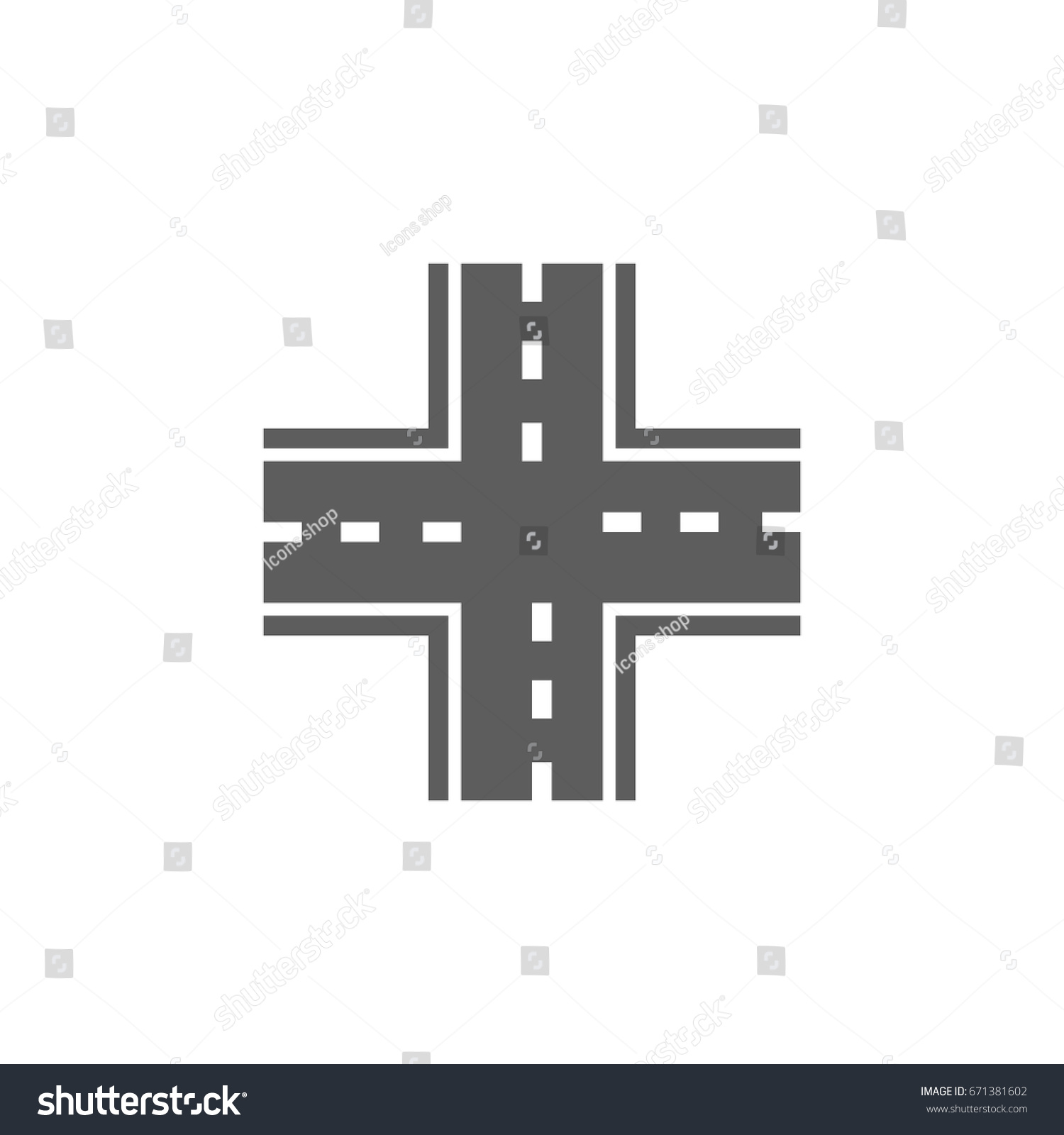 Intersection Icon Trendy Flat Style Isolated Stock Vector 671381602