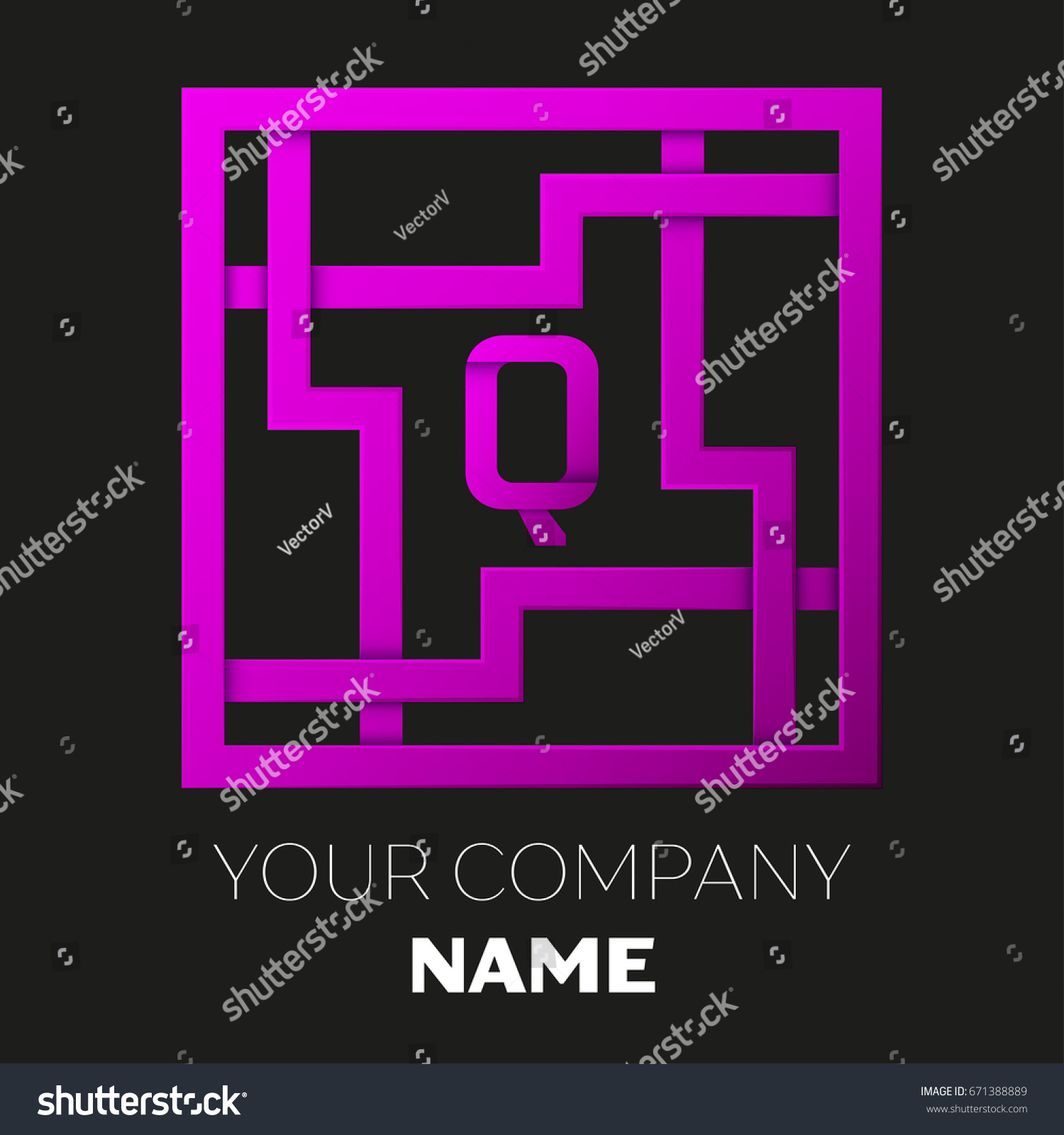 Realistic Letter Q vector logo symbol in the colorful square maze on black  background. Shadow