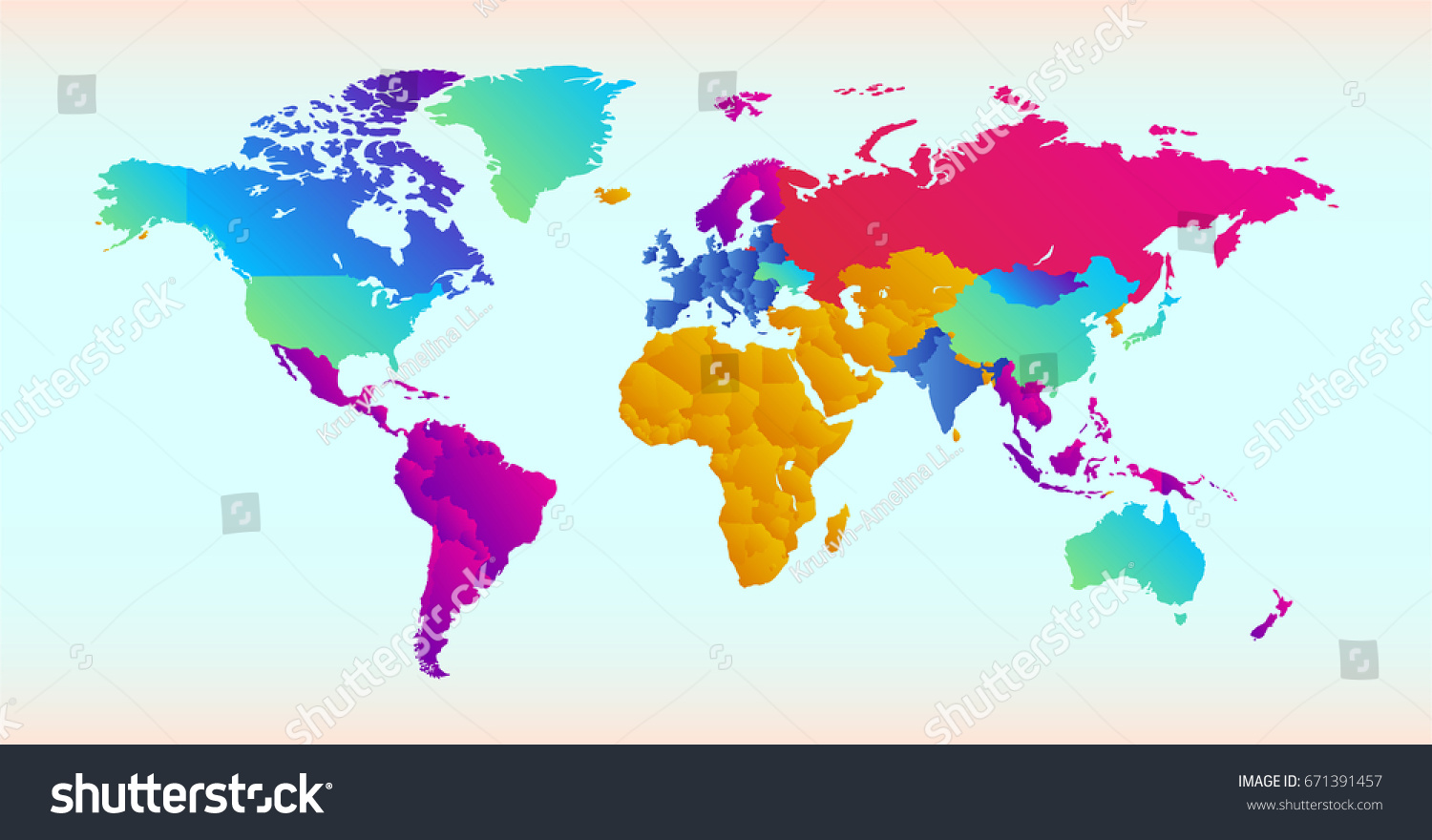 Vector illustration world map different colored stock vector vector illustration of world map with different colored countries and continents gumiabroncs Images