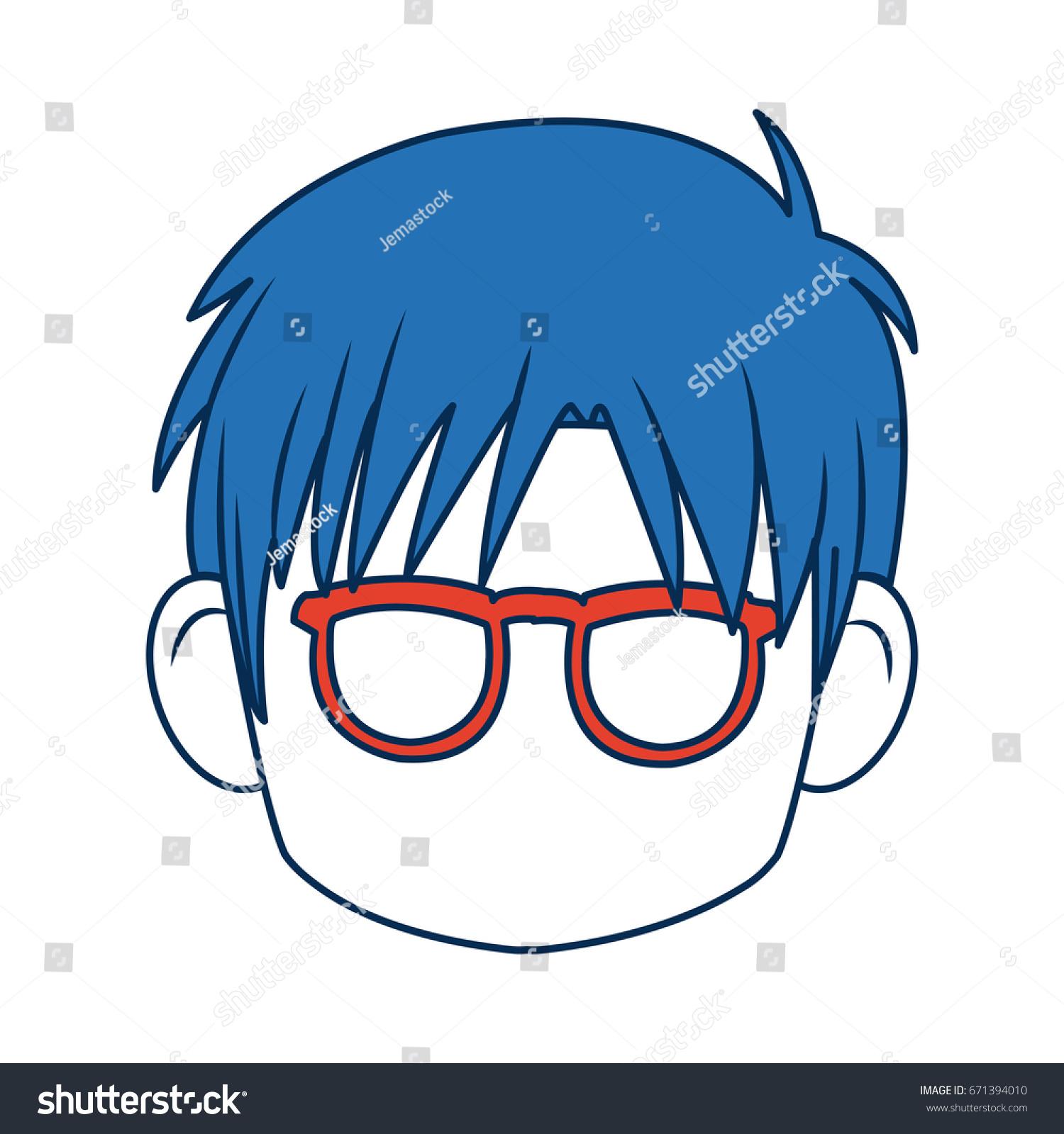 Anime Boy Blue Hair Glasses Stock Vector Royalty Free 671394010