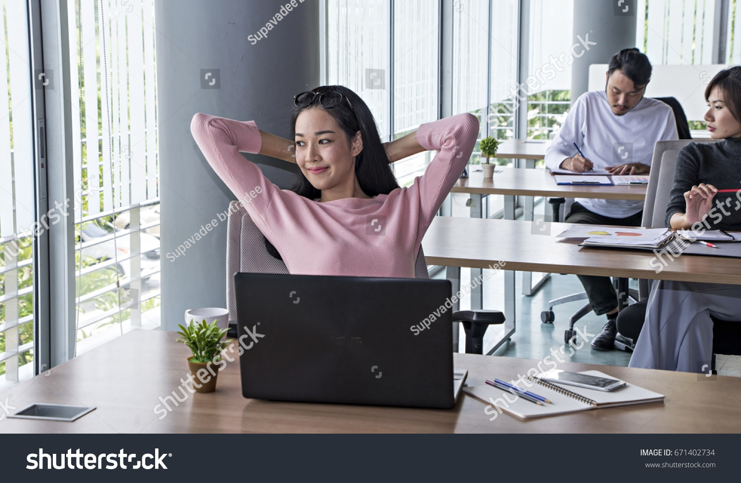 woman office furniture. Business Woman Relaxing Working At Office Desk Laid Back Resting On Chair With Hands Behind Head Furniture