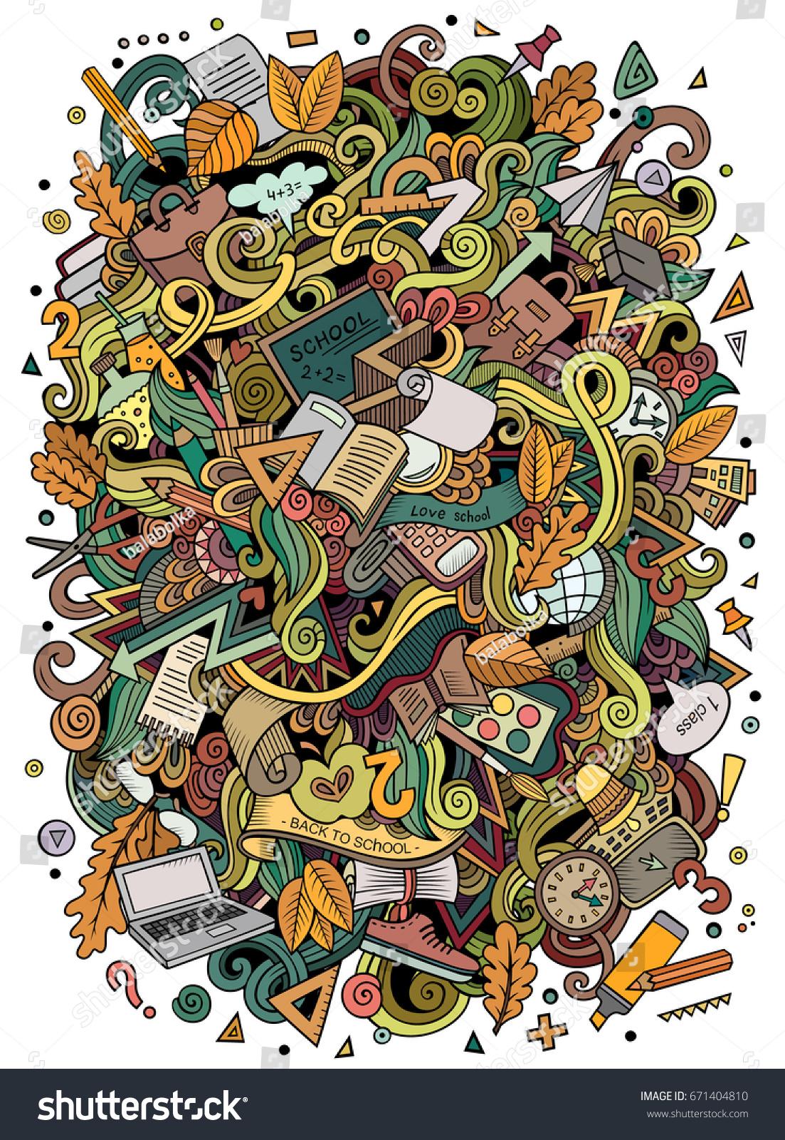 Cartoon Cute Doodles Hand Drawn School Illustration Colorful
