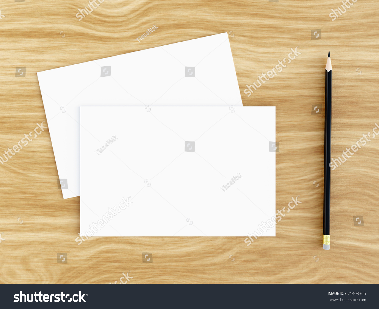 Blank White Greeting Card Mockup Pencil Stock Illustration 671408365