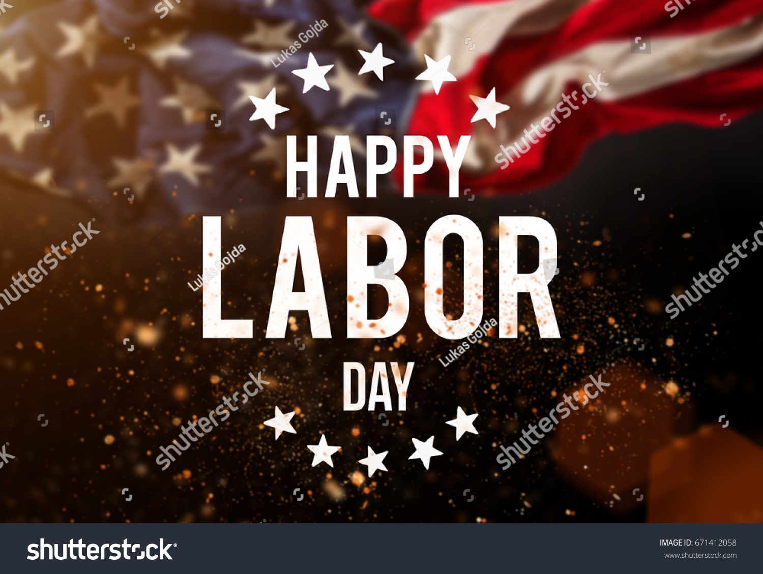 Happy Labor day banner, american patriotic background #671412058