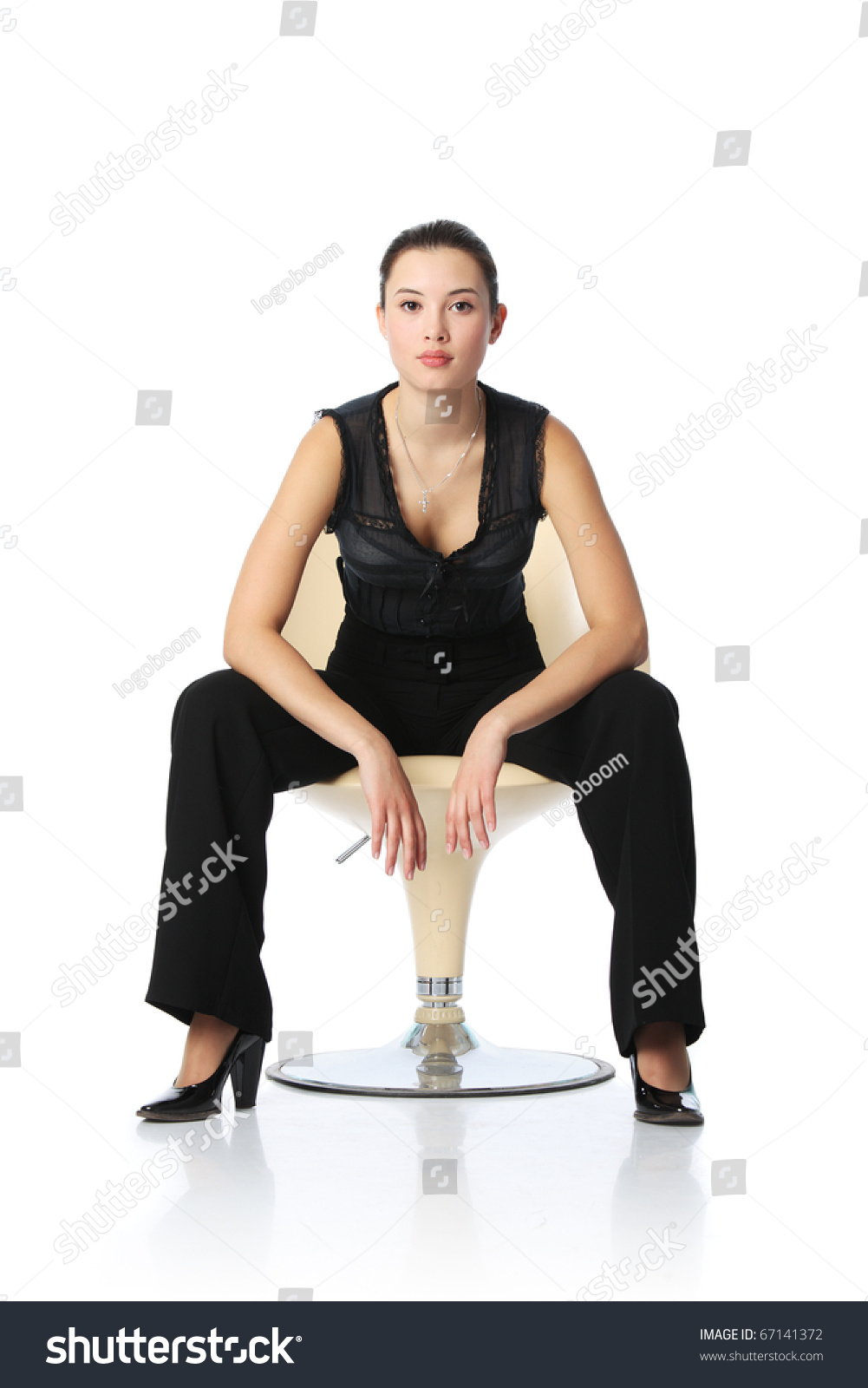 Asian businesswoman in black pants sitting in chair isolated on white background  sc 1 st  Shutterstock & Asian Businesswoman Black Pants Sitting Chair Stock Photo (Edit Now ...