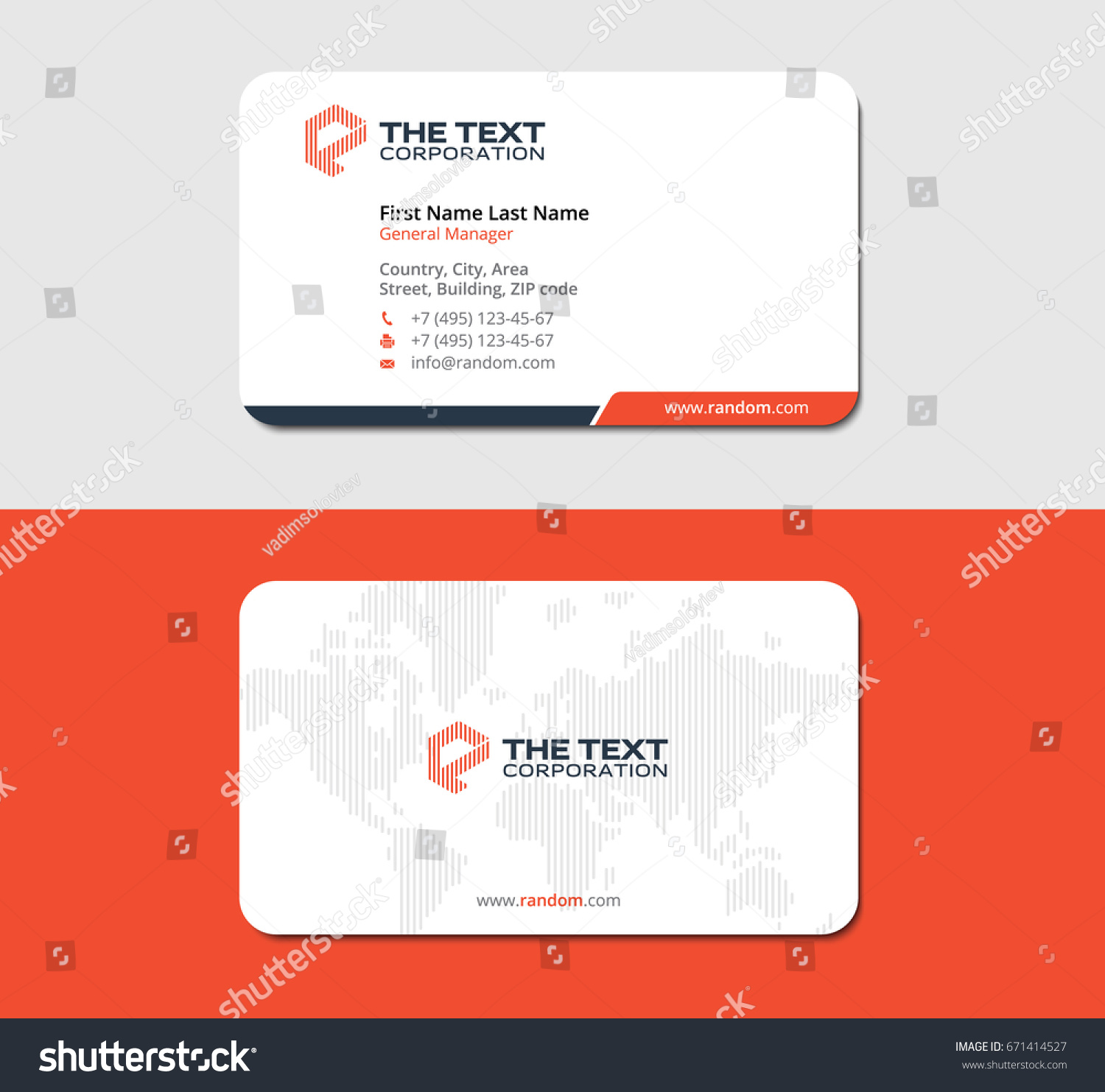 White Red Simple Business Card Map Stock Vector