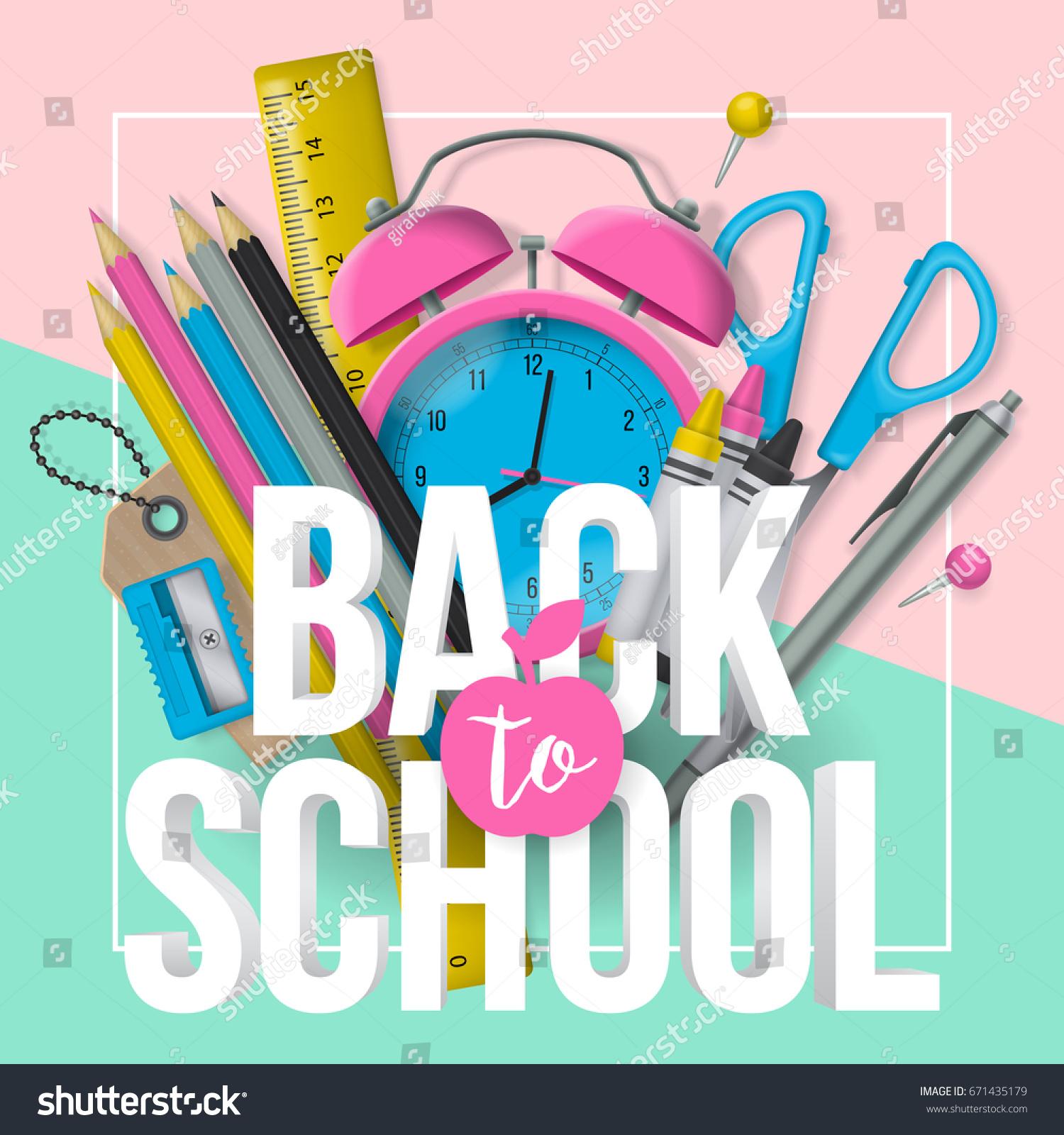 back school banner design lettering school stock vector royalty