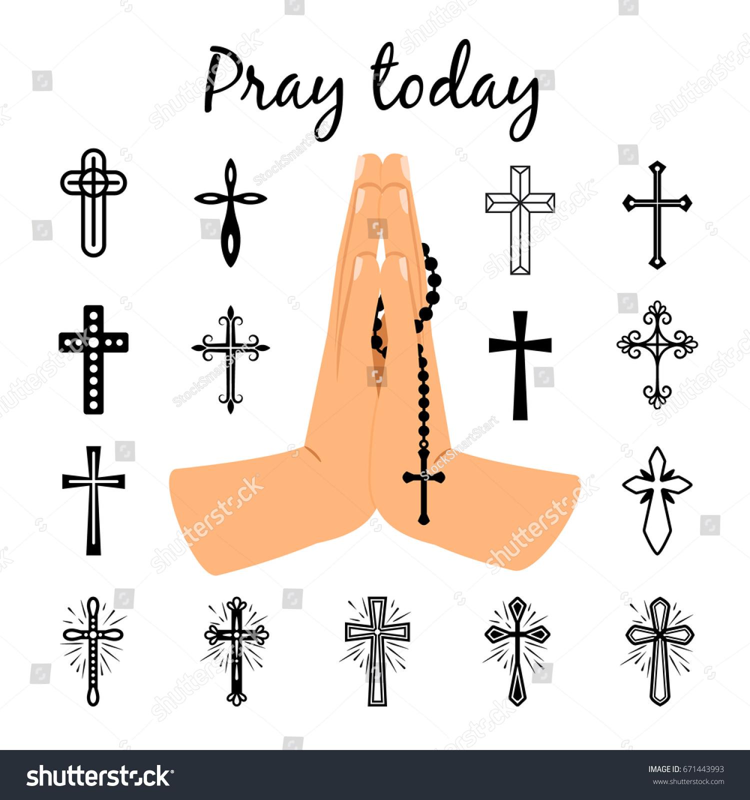 Catholic praying hands holding rosary beads stock vector 671443993 catholic praying hands holding rosary beads and christian crosses signs vector prayer symbols isolated on buycottarizona