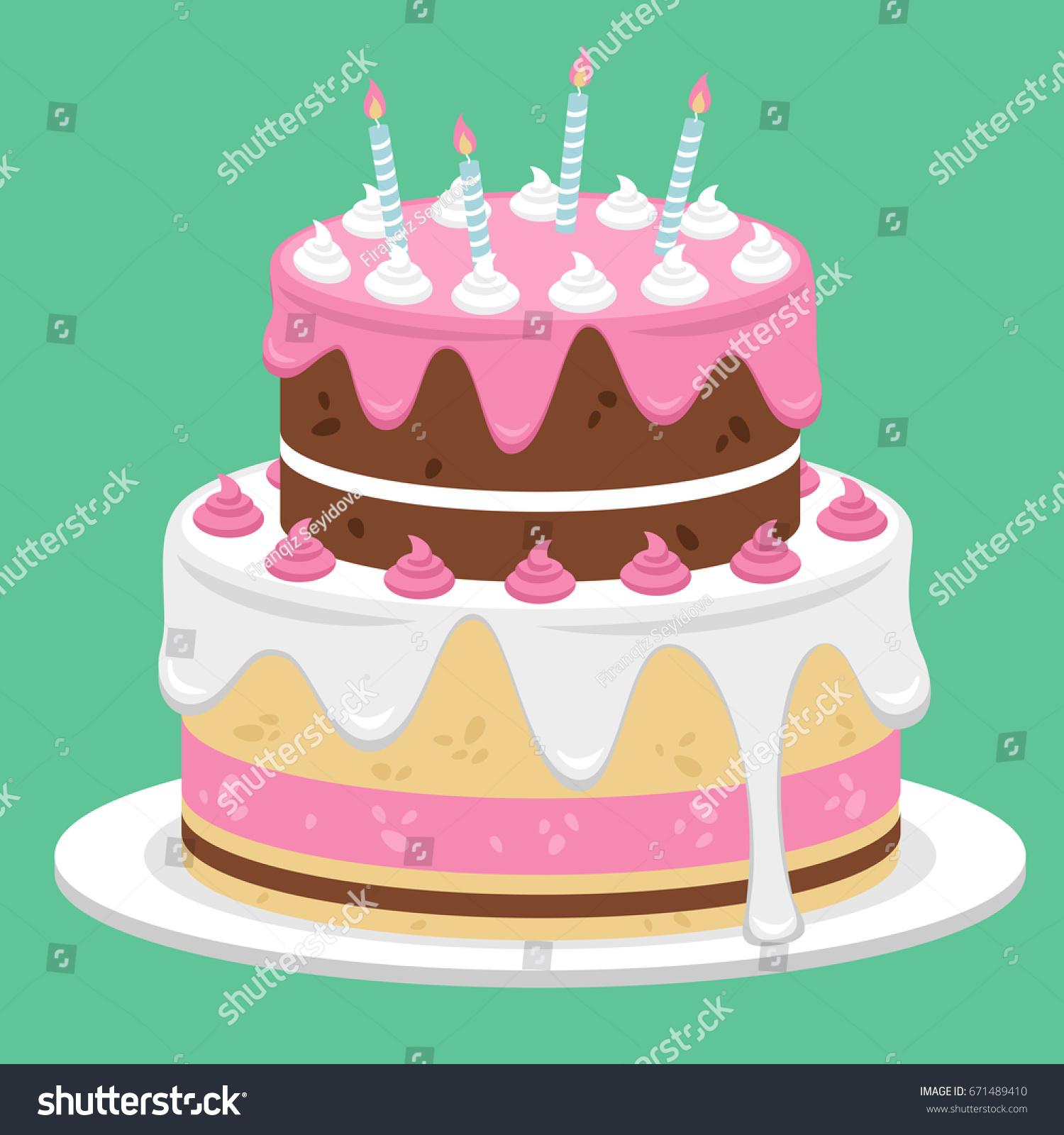 Birthday Cake Flat Icon Design Vector Stock Vector Hd Royalty Free