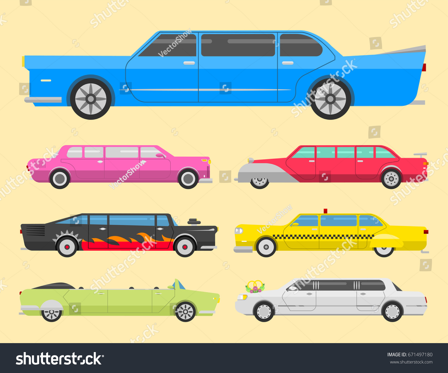 Detailed Vector Luxury Limousine Long Car Stock Vector Royalty Free - Show car transport